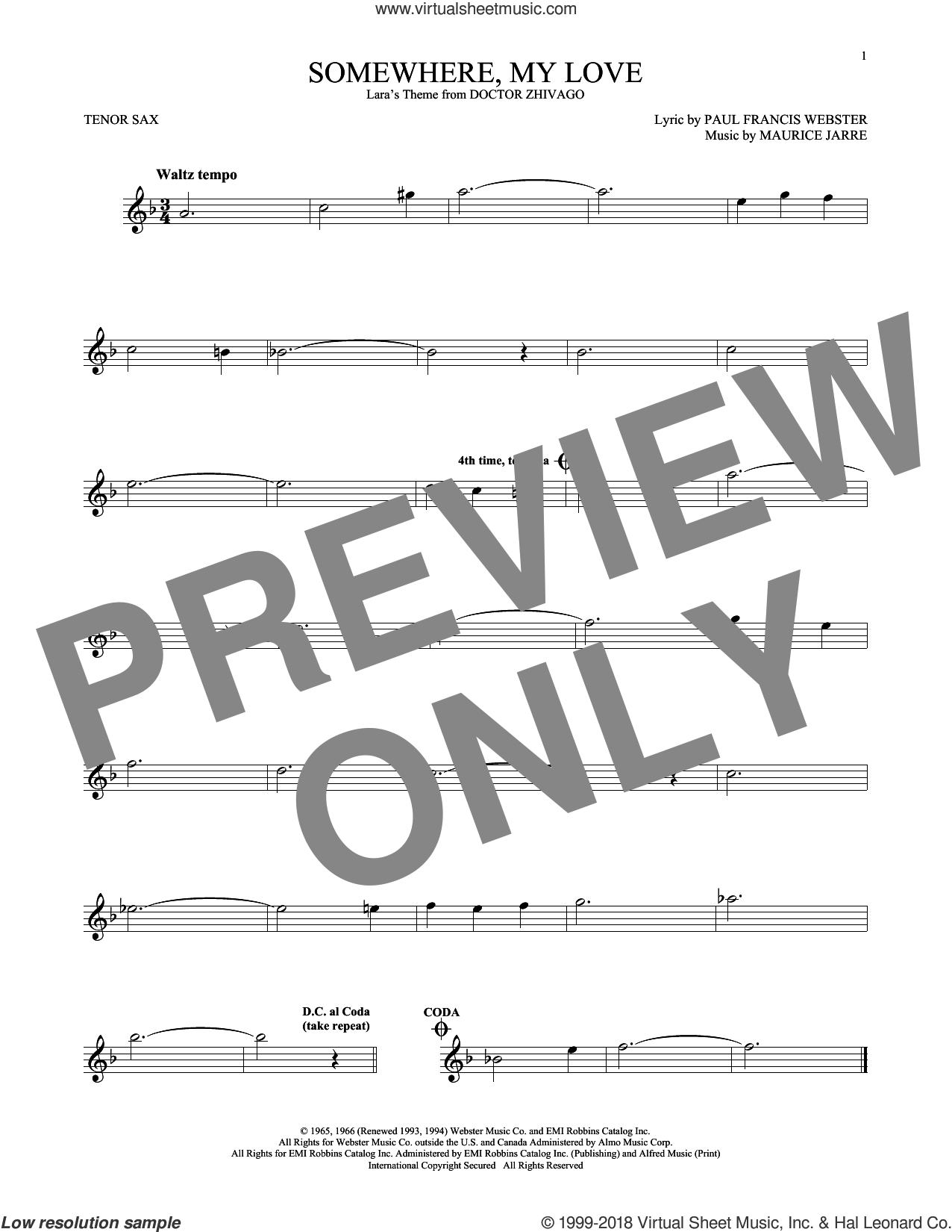 Somewhere, My Love sheet music for tenor saxophone solo by Paul Francis Webster and Maurice Jarre, intermediate skill level