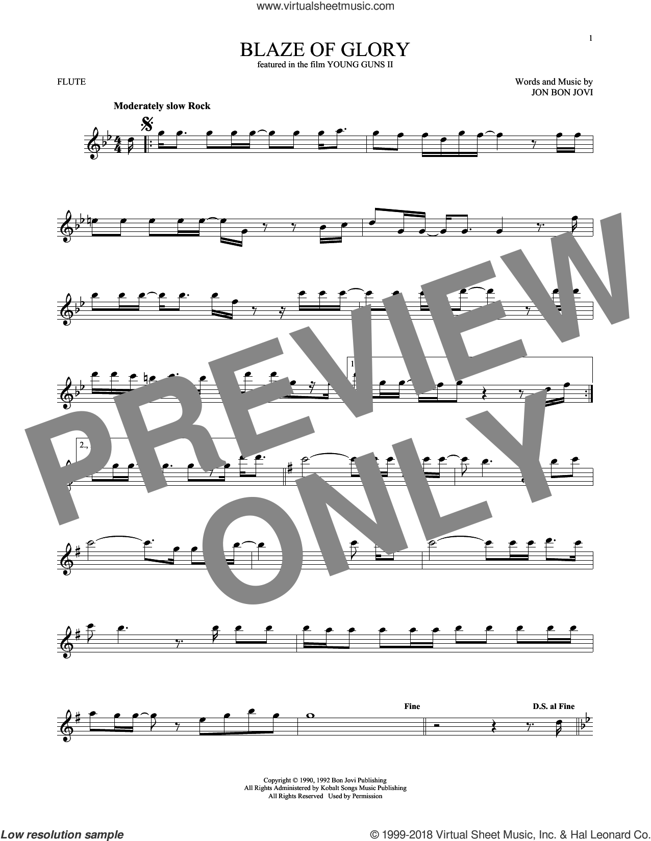 Blaze Of Glory sheet music for flute solo by Bon Jovi. Score Image Preview.