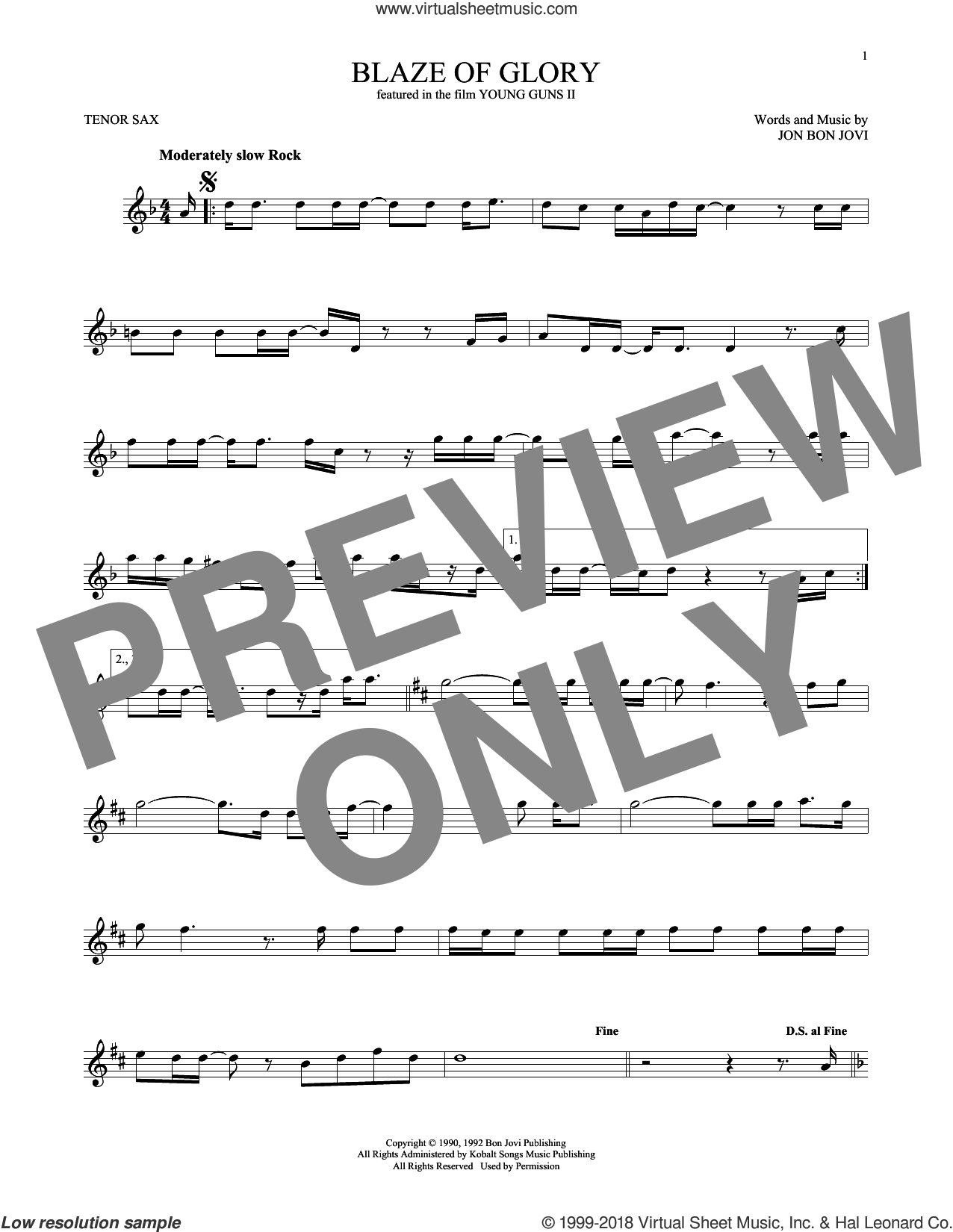 Blaze Of Glory sheet music for tenor saxophone solo ( Sax) by Bon Jovi, intermediate tenor saxophone ( Sax). Score Image Preview.