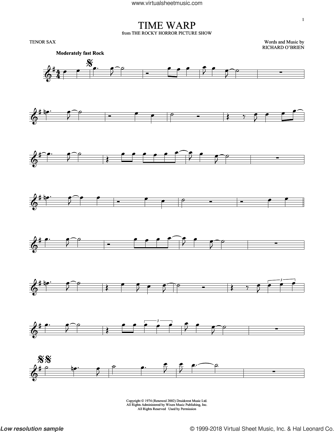 Time Warp sheet music for tenor saxophone solo by Richard O'Brien, intermediate skill level