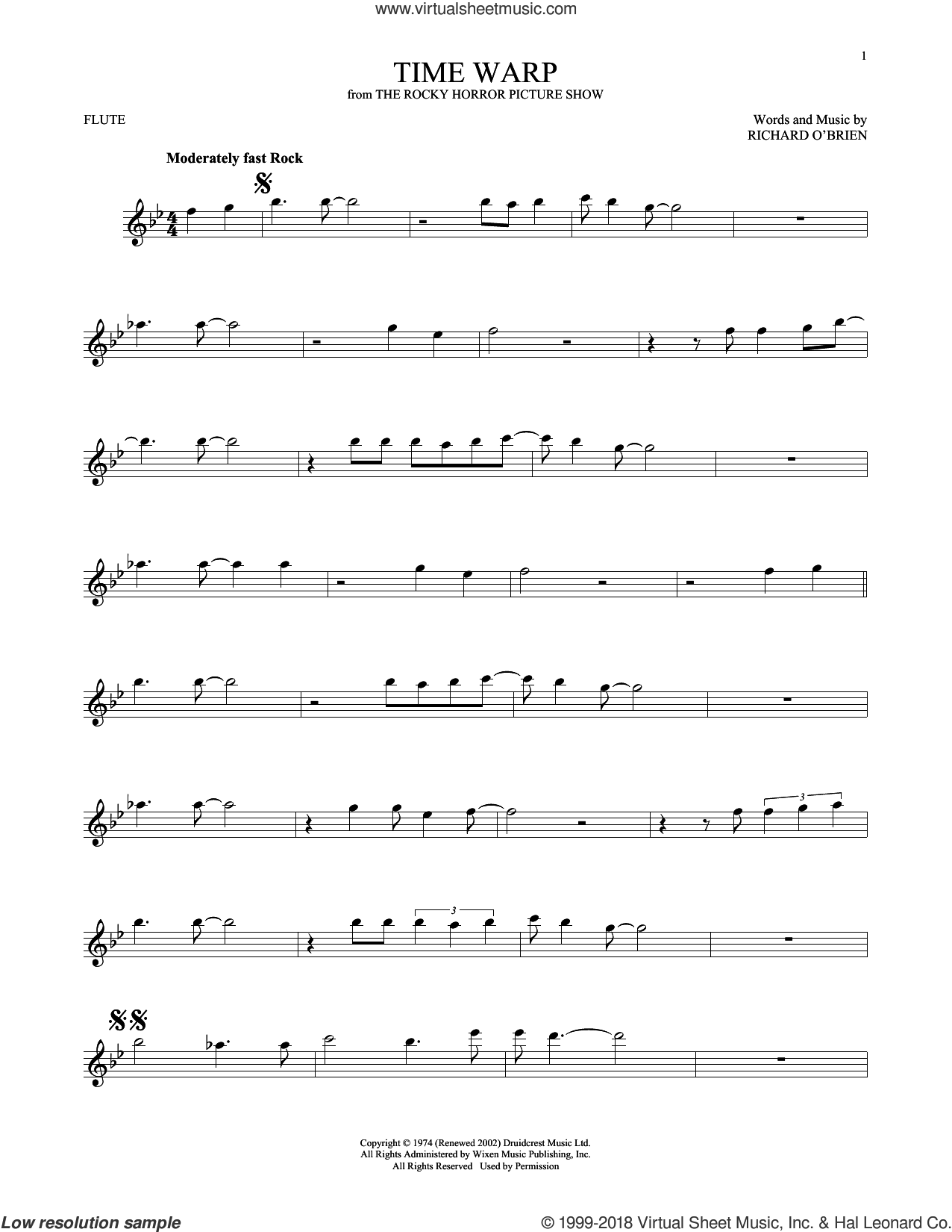 Time Warp sheet music for flute solo by Richard O'Brien. Score Image Preview.