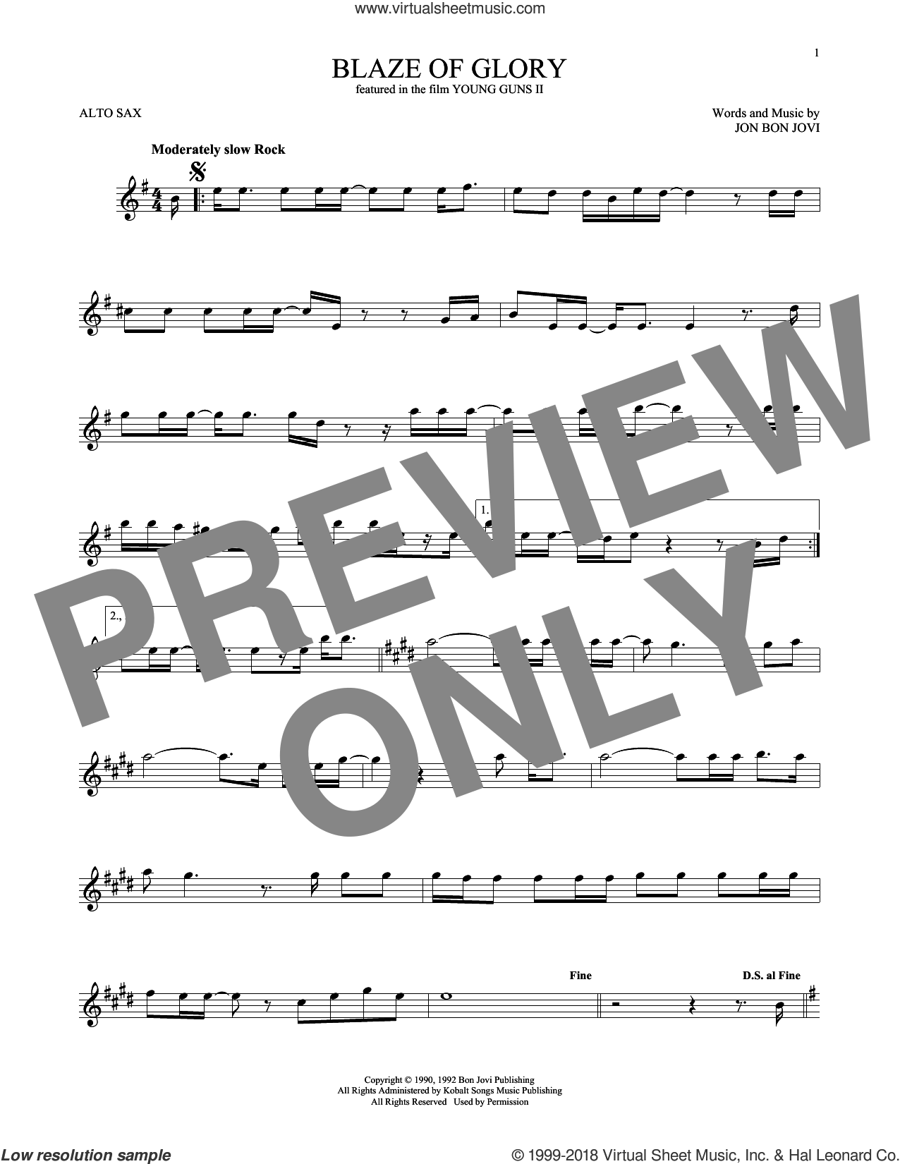Blaze Of Glory sheet music for alto saxophone solo ( Sax) by Bon Jovi. Score Image Preview.