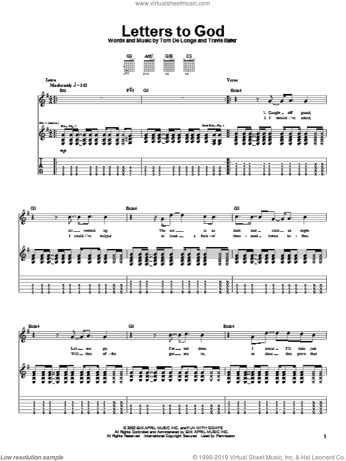 Letters To God sheet music for guitar (tablature) by Travis Barker and Tom DeLonge. Score Image Preview.