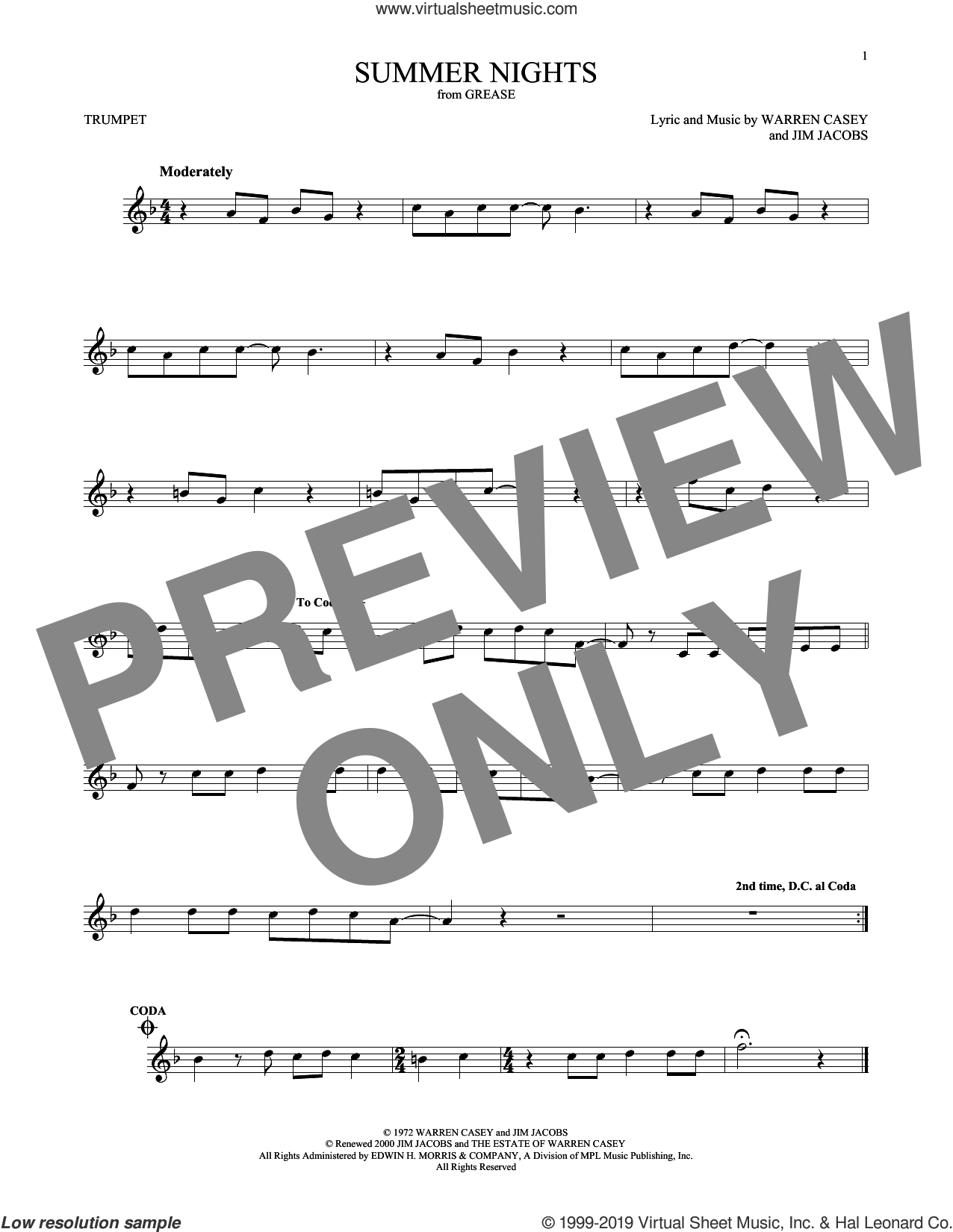 Summer Nights sheet music for trumpet solo by Jim Jacobs and Warren Casey, intermediate skill level