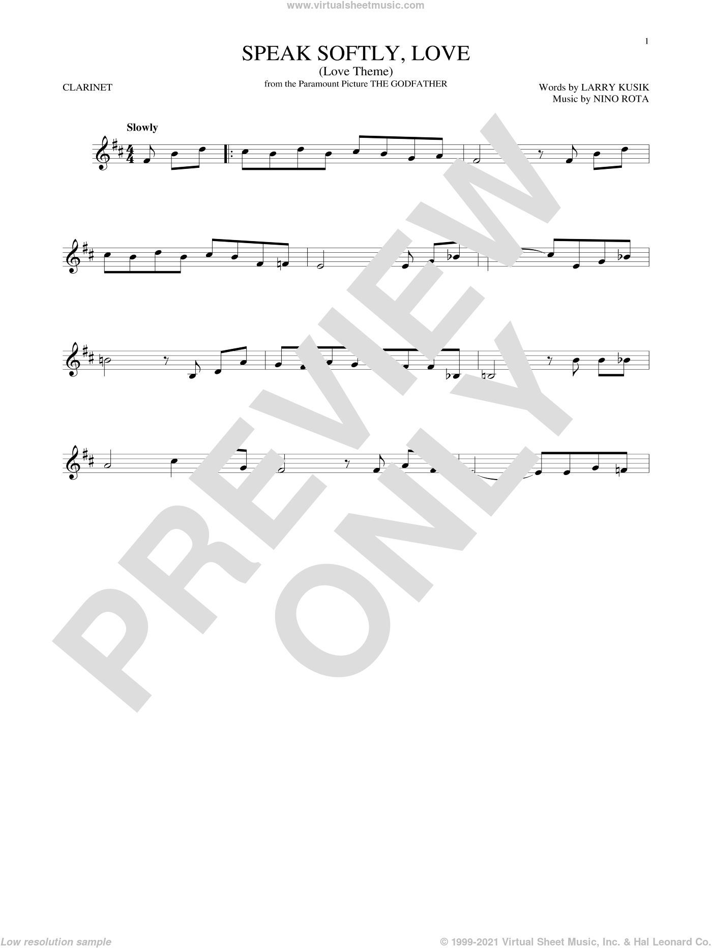 Speak Softly, Love (Love Theme) sheet music for clarinet solo by Andy Williams, Larry Kusik and Nino Rota, intermediate skill level