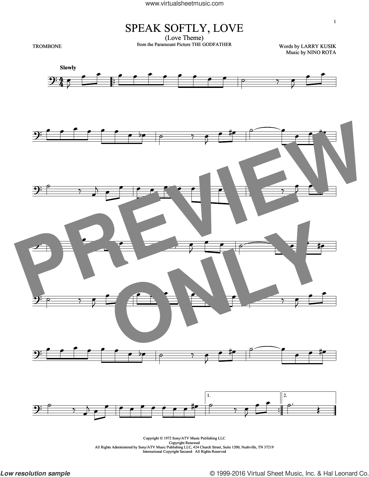 Speak Softly, Love (Love Theme) sheet music for trombone solo by Nino Rota, Andy Williams and Larry Kusik. Score Image Preview.