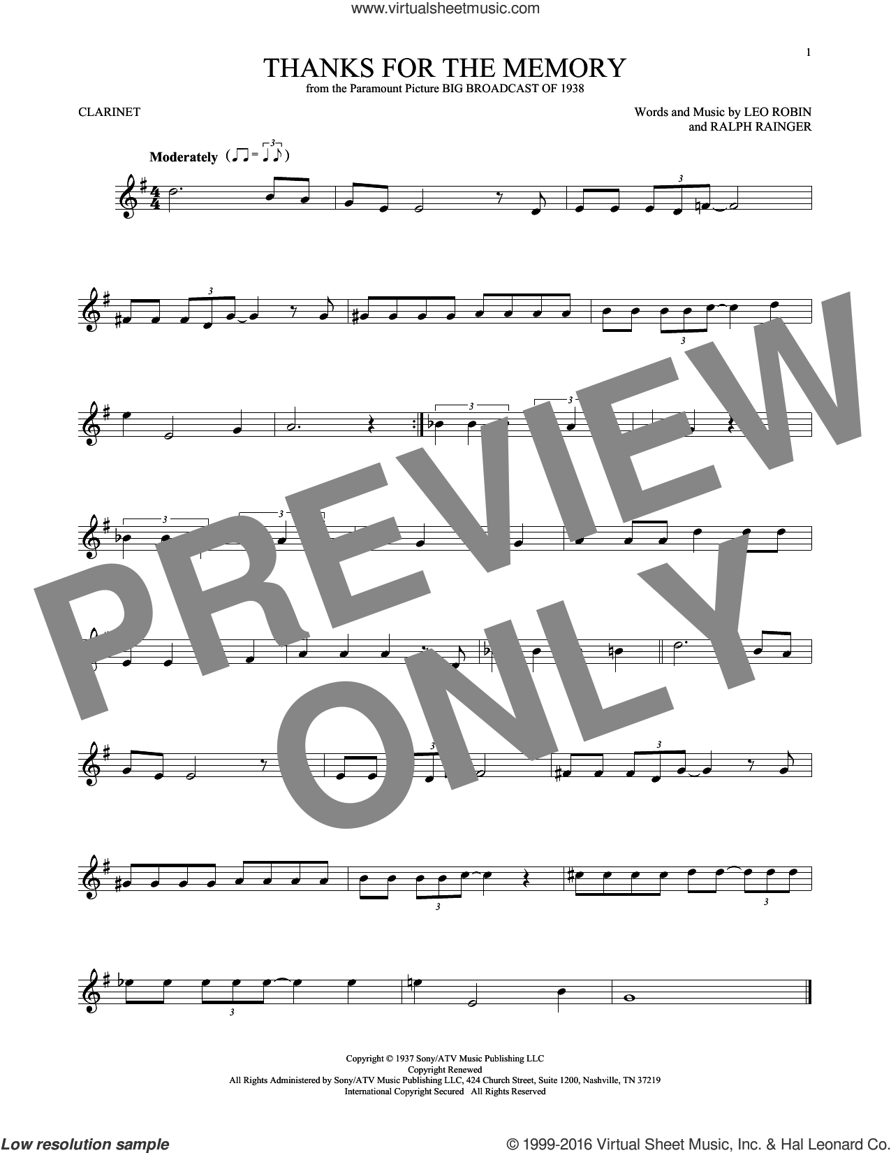 Thanks For The Memory sheet music for clarinet solo by Leo Robin, Dave McKenna, Mildred Bailey, Shep Fields and Ralph Rainger, intermediate skill level
