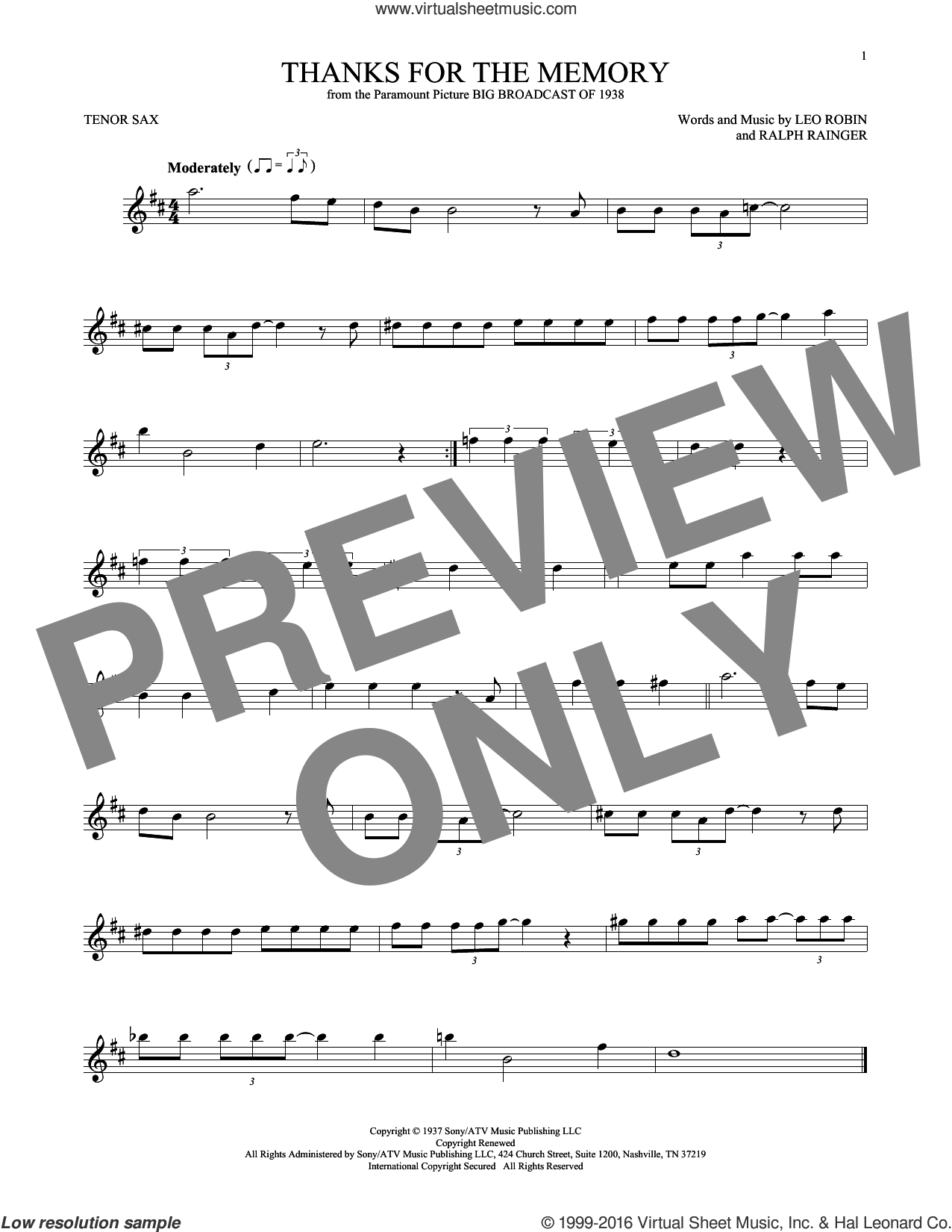 Thanks For The Memory sheet music for tenor saxophone solo ( Sax) by Leo Robin, Mildred Bailey and Ralph Rainger. Score Image Preview.