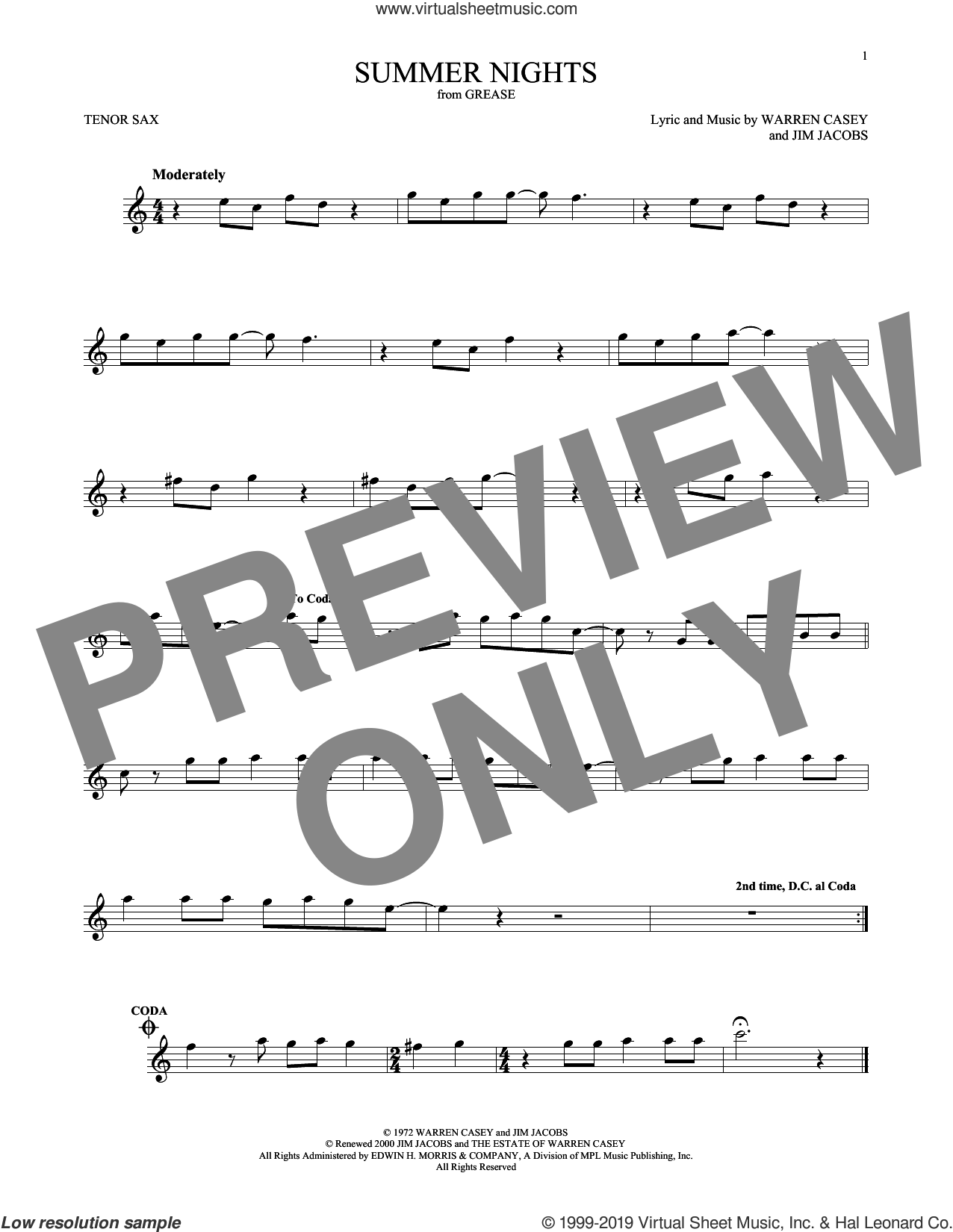 Summer Nights sheet music for tenor saxophone solo by Jim Jacobs and Warren Casey, intermediate skill level