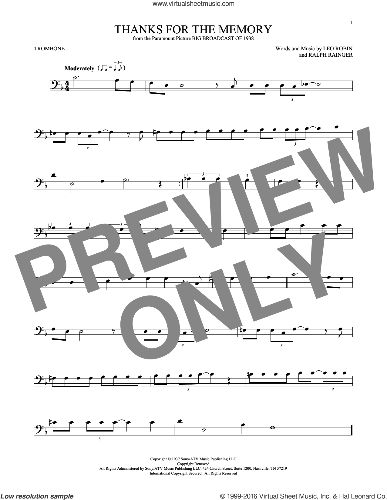 Thanks For The Memory sheet music for trombone solo by Leo Robin, Dave McKenna, Mildred Bailey, Shep Fields and Ralph Rainger, intermediate skill level