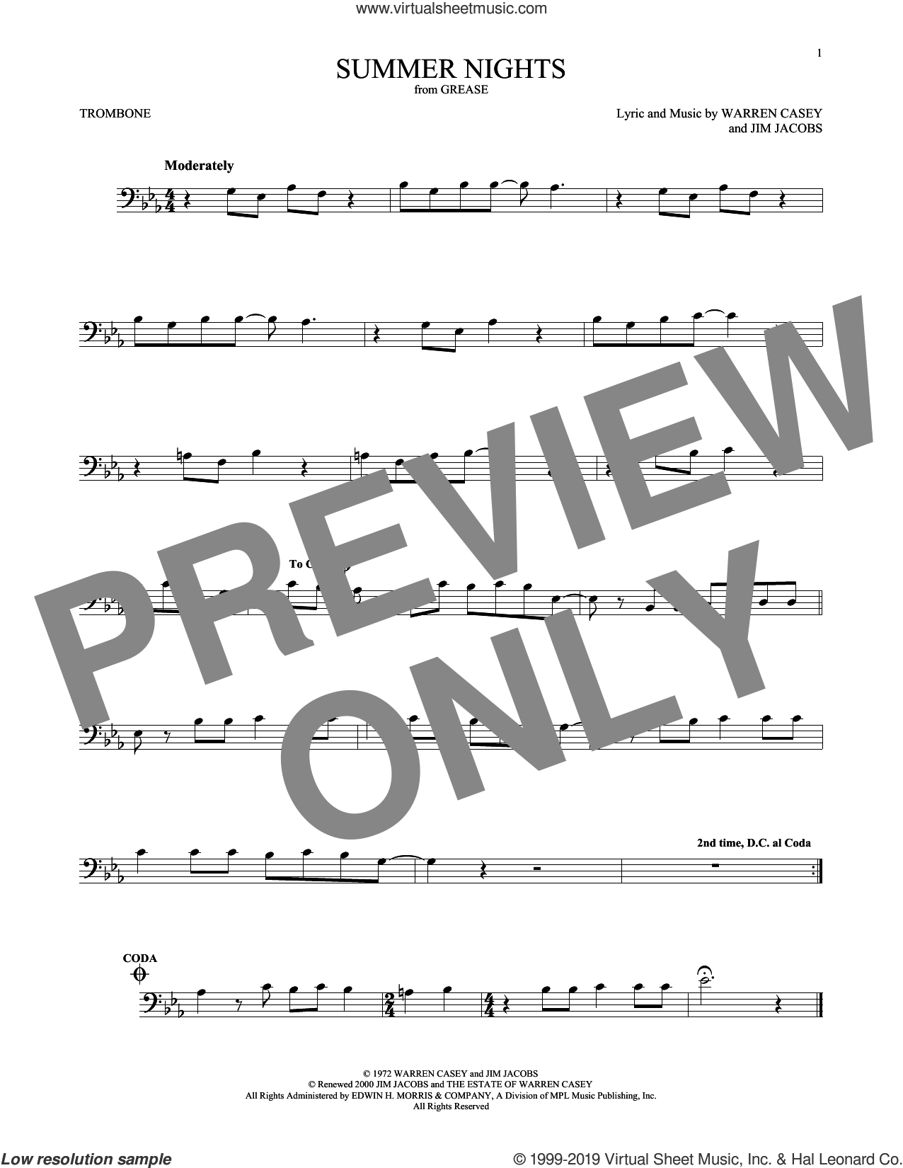 Summer Nights sheet music for trombone solo by Jim Jacobs and Warren Casey, intermediate skill level