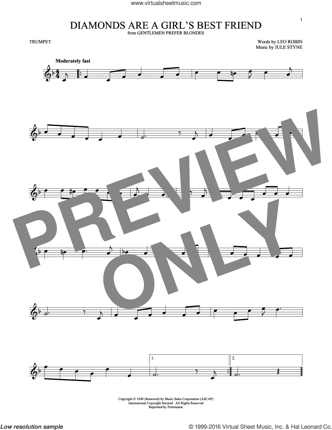 Diamonds Are A Girl's Best Friend sheet music for trumpet solo by Jule Styne and Leo Robin. Score Image Preview.