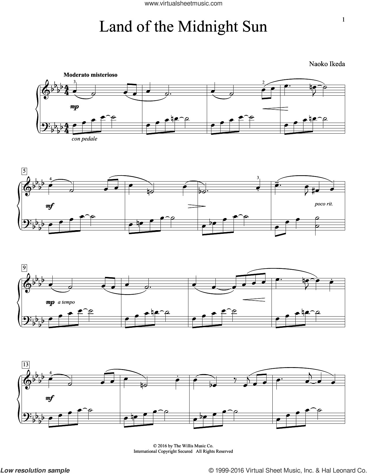 Land Of The Midnight Sun sheet music for piano solo (elementary) by Naoko Ikeda, beginner piano (elementary)
