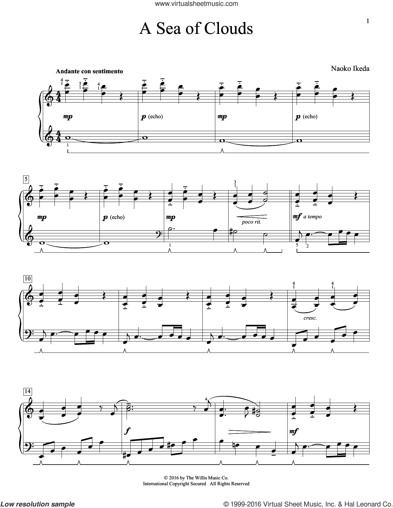 A Sea Of Clouds sheet music for piano solo (elementary) by Naoko Ikeda, beginner piano (elementary)