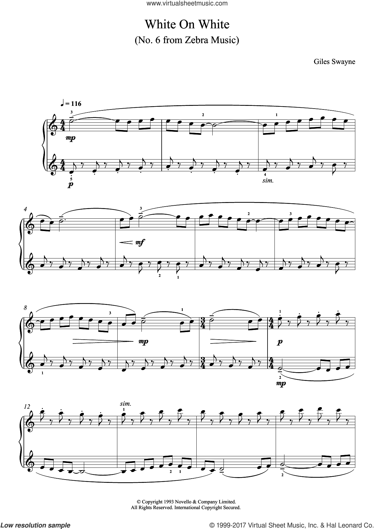 White On White (No. 6 from Zebra Music) sheet music for piano solo by Giles Swayne. Score Image Preview.