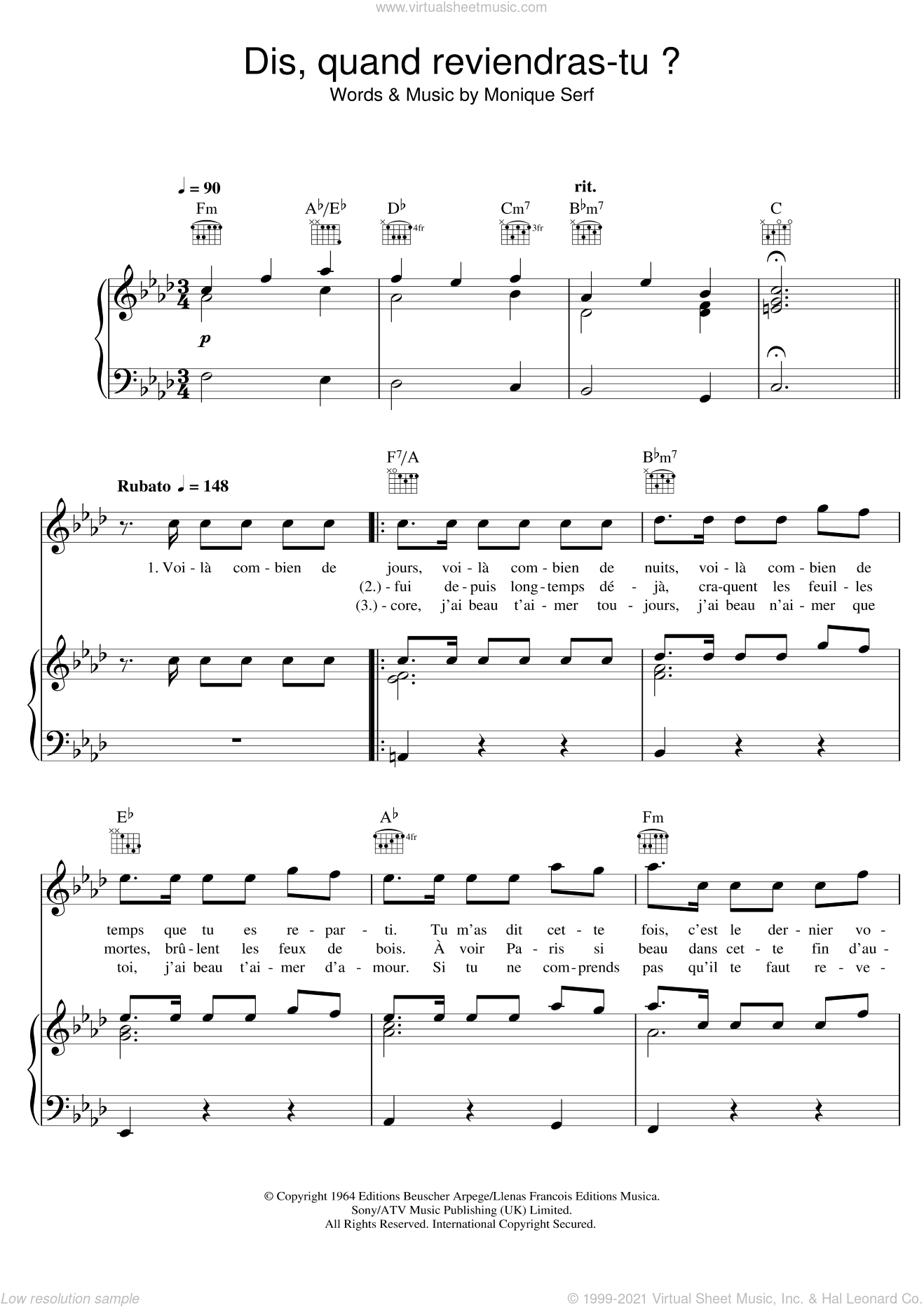 Dis, Quand Reviendras Tu ? sheet music for voice, piano or guitar by Barbara and Monique Serf, intermediate skill level