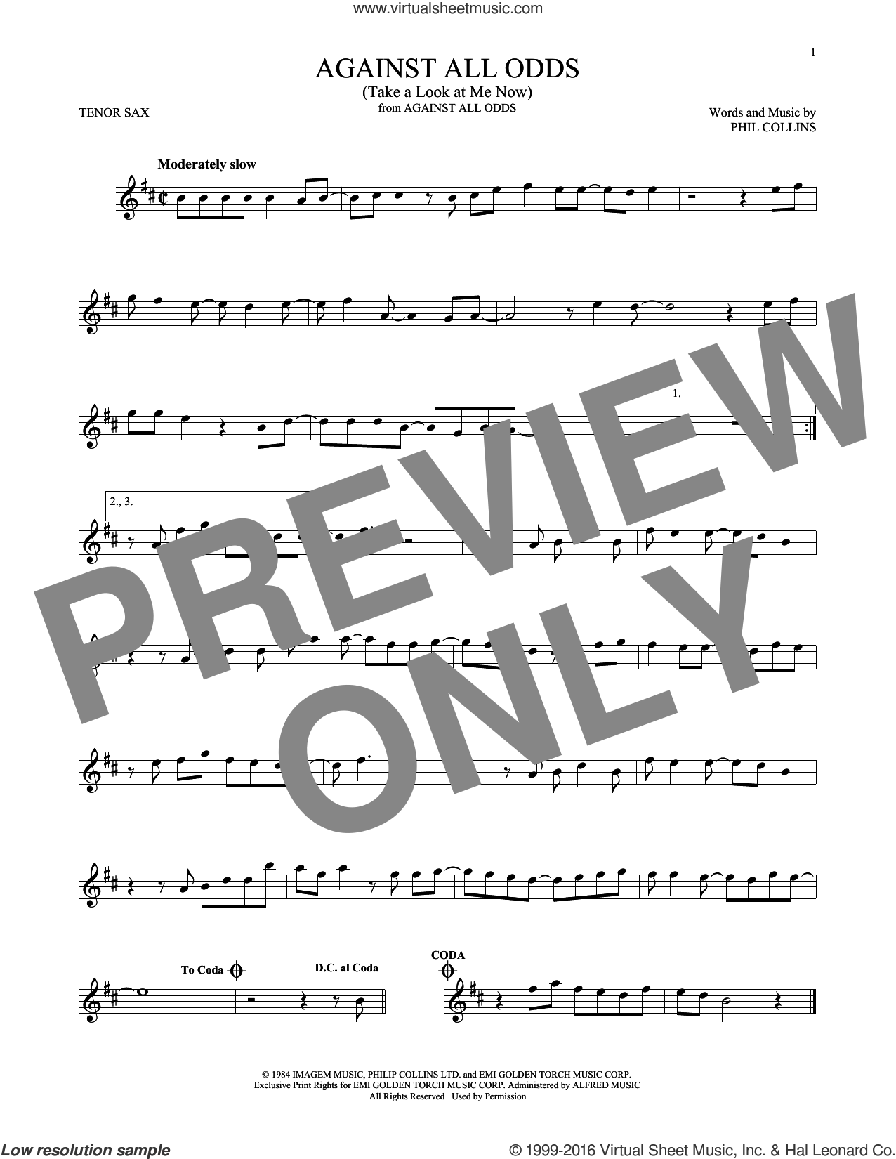 Against All Odds (Take A Look At Me Now) sheet music for tenor saxophone solo by Phil Collins, intermediate skill level