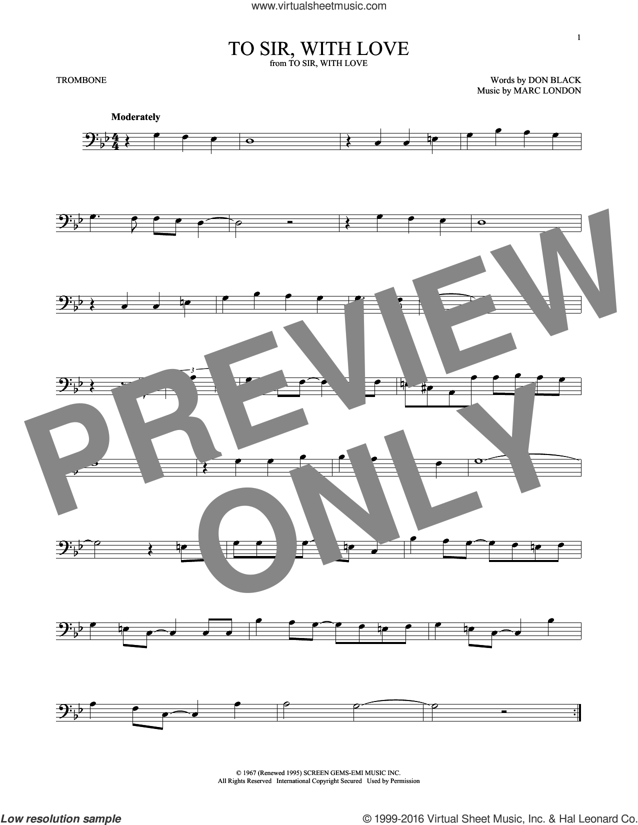 To Sir, With Love sheet music for trombone solo by Marc London, Lulu and Don Black. Score Image Preview.
