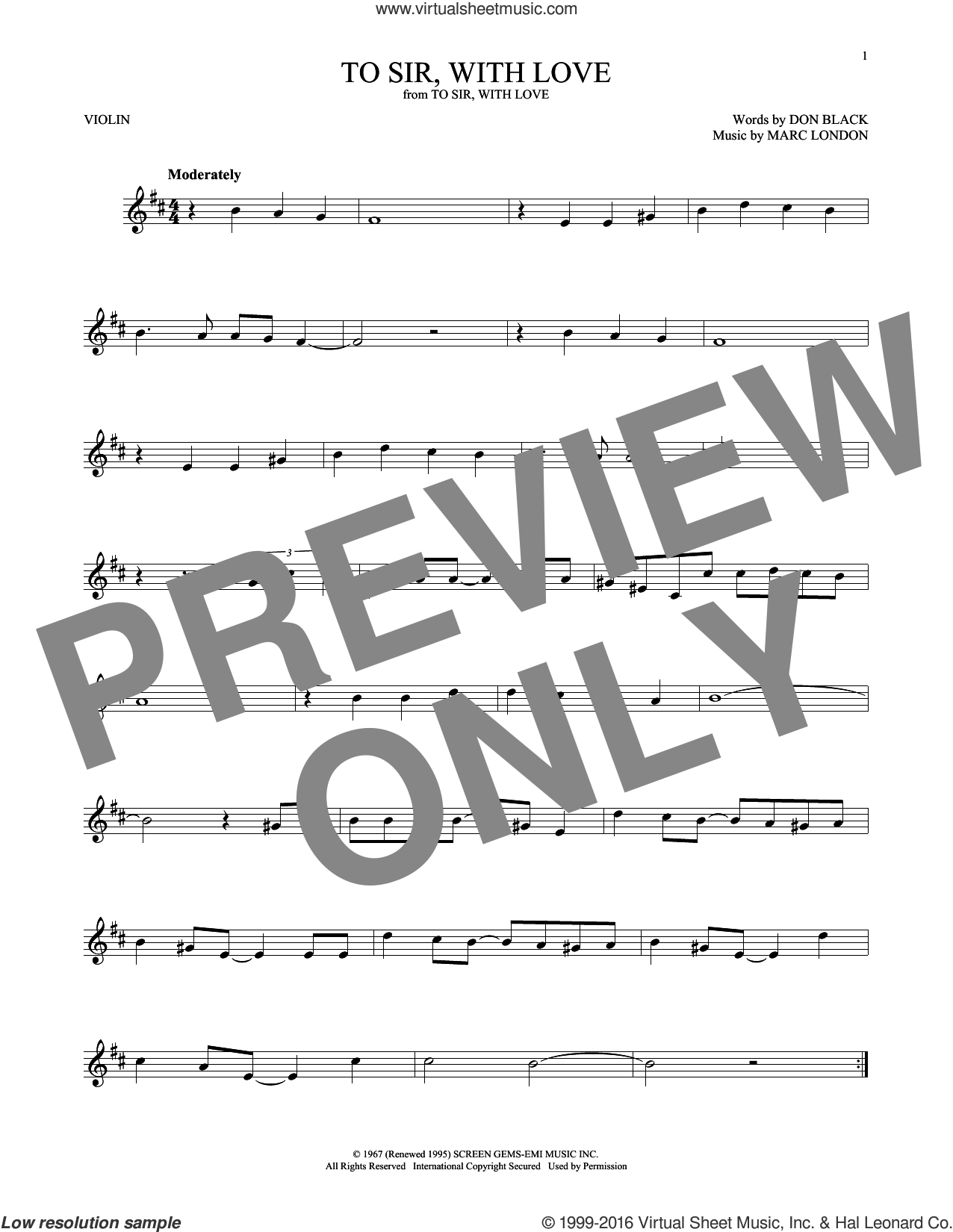 To Sir, With Love sheet music for violin solo by Marc London, Lulu and Don Black. Score Image Preview.