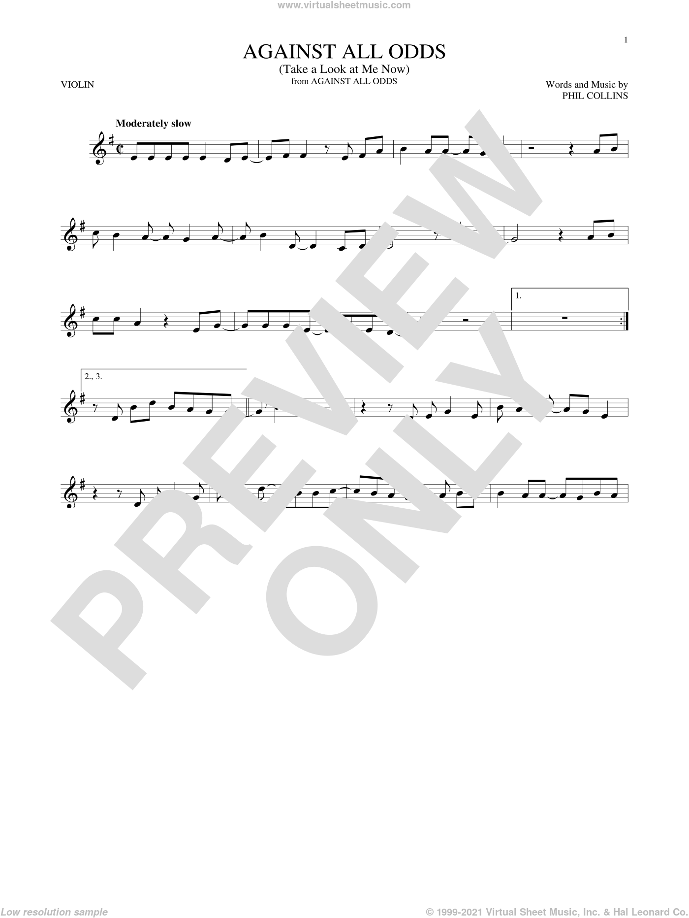 Against All Odds (Take A Look At Me Now) sheet music for violin solo by Phil Collins, intermediate skill level