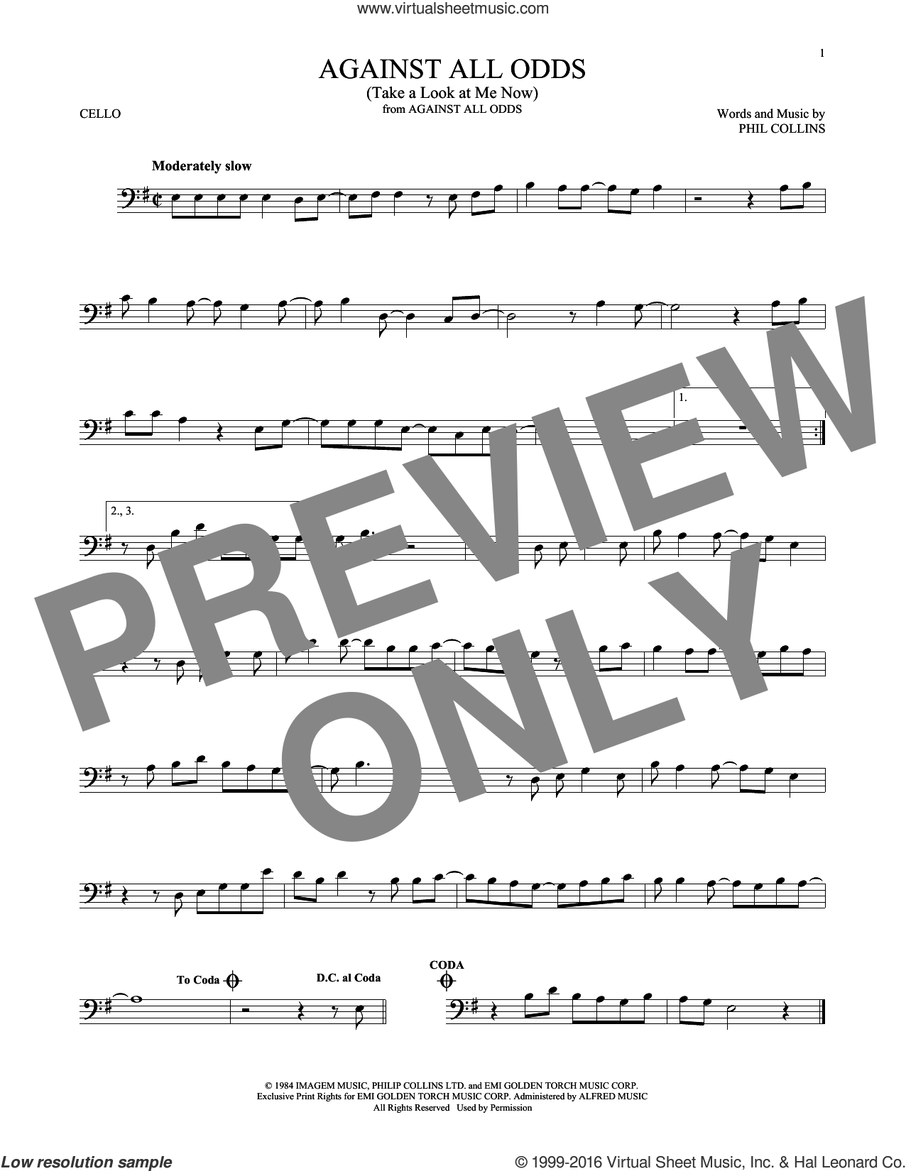 Against All Odds (Take A Look At Me Now) sheet music for cello solo by Phil Collins, intermediate