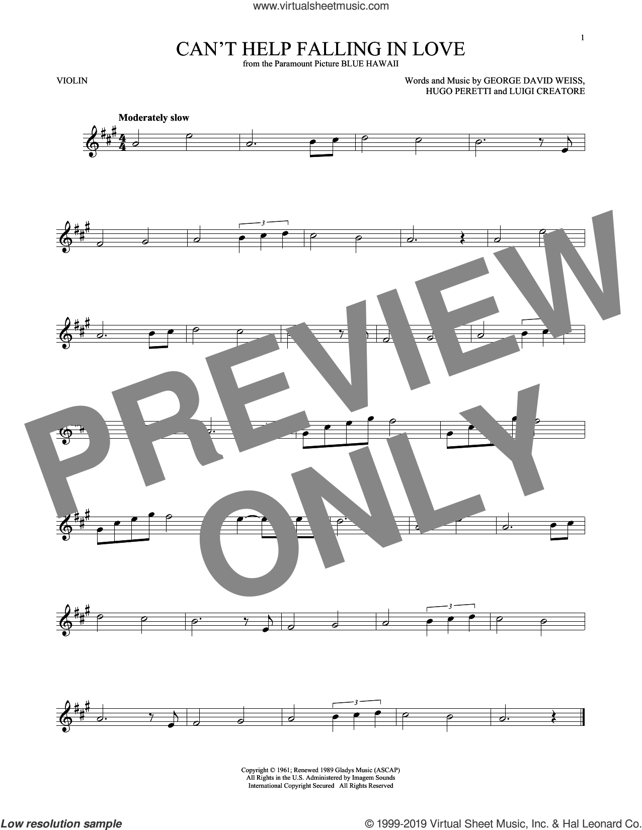 Can't Help Falling In Love sheet music for violin solo by Elvis Presley, George David Weiss, Hugo Peretti and Luigi Creatore, intermediate skill level