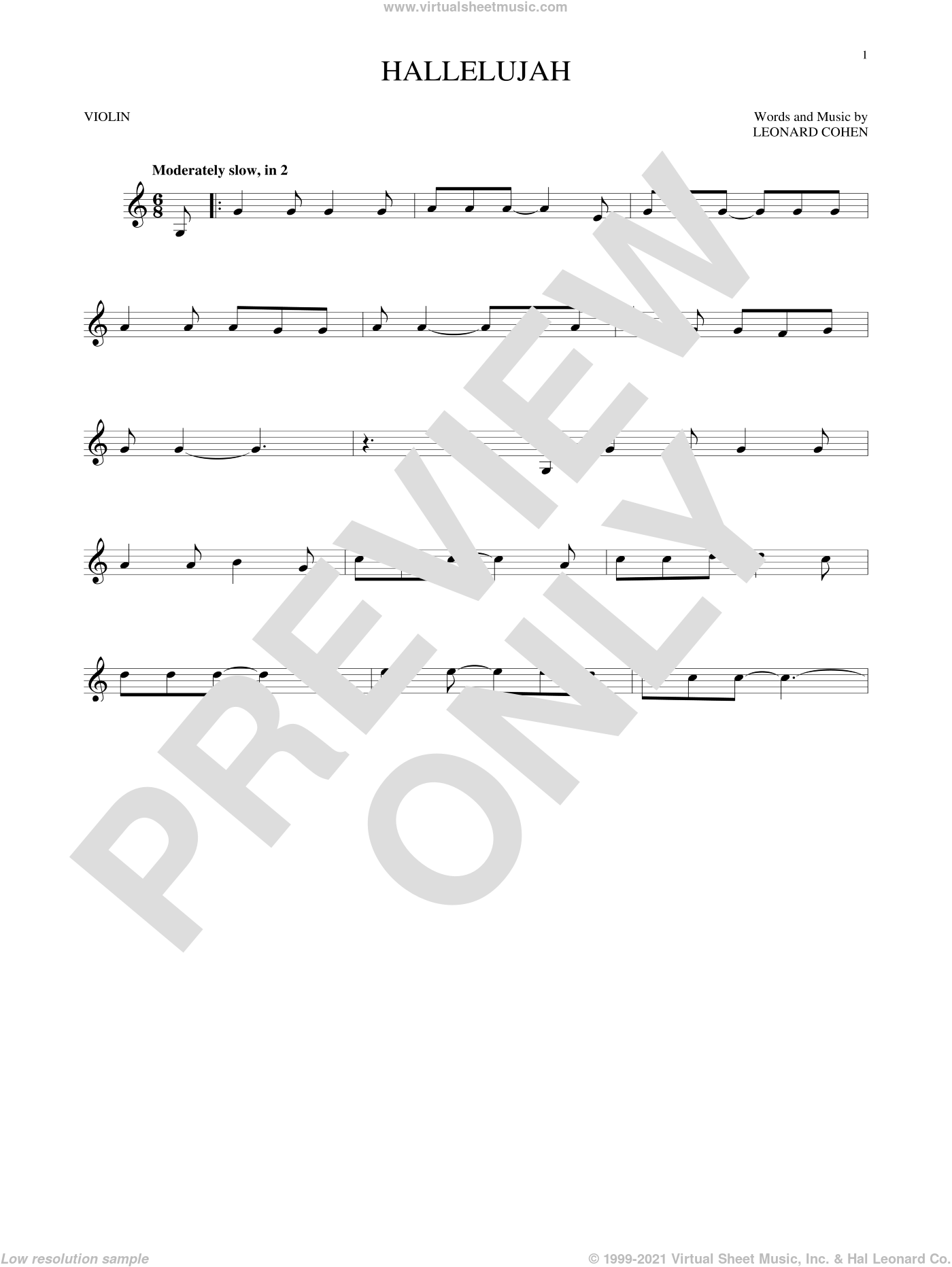 Hallelujah sheet music for violin solo by Leonard Cohen, Justin Timberlake & Matt Morris featuring Charlie Sexton and Lee DeWyze, intermediate skill level