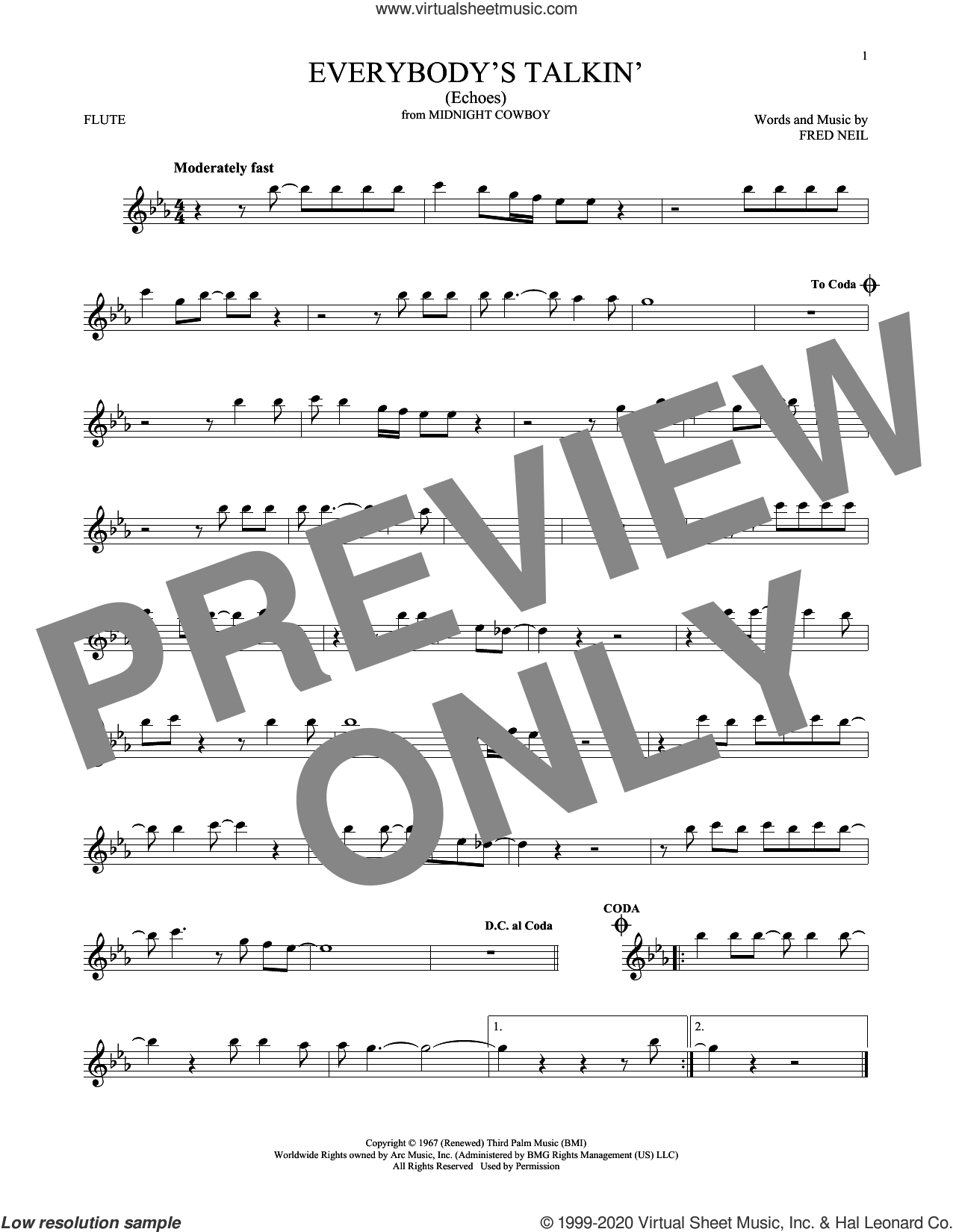Everybody's Talkin' (Echoes) sheet music for flute solo by Harry Nilsson and Fred Neil, intermediate skill level