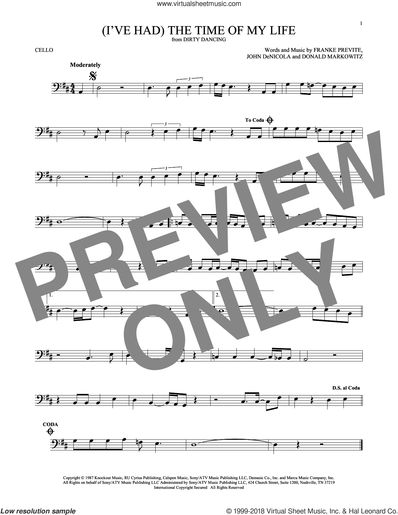 (I've Had) The Time Of My Life sheet music for cello solo by Bill Medley & Jennifer Warnes, Donald Markowitz, Franke Previte and John DeNicola, intermediate. Score Image Preview.