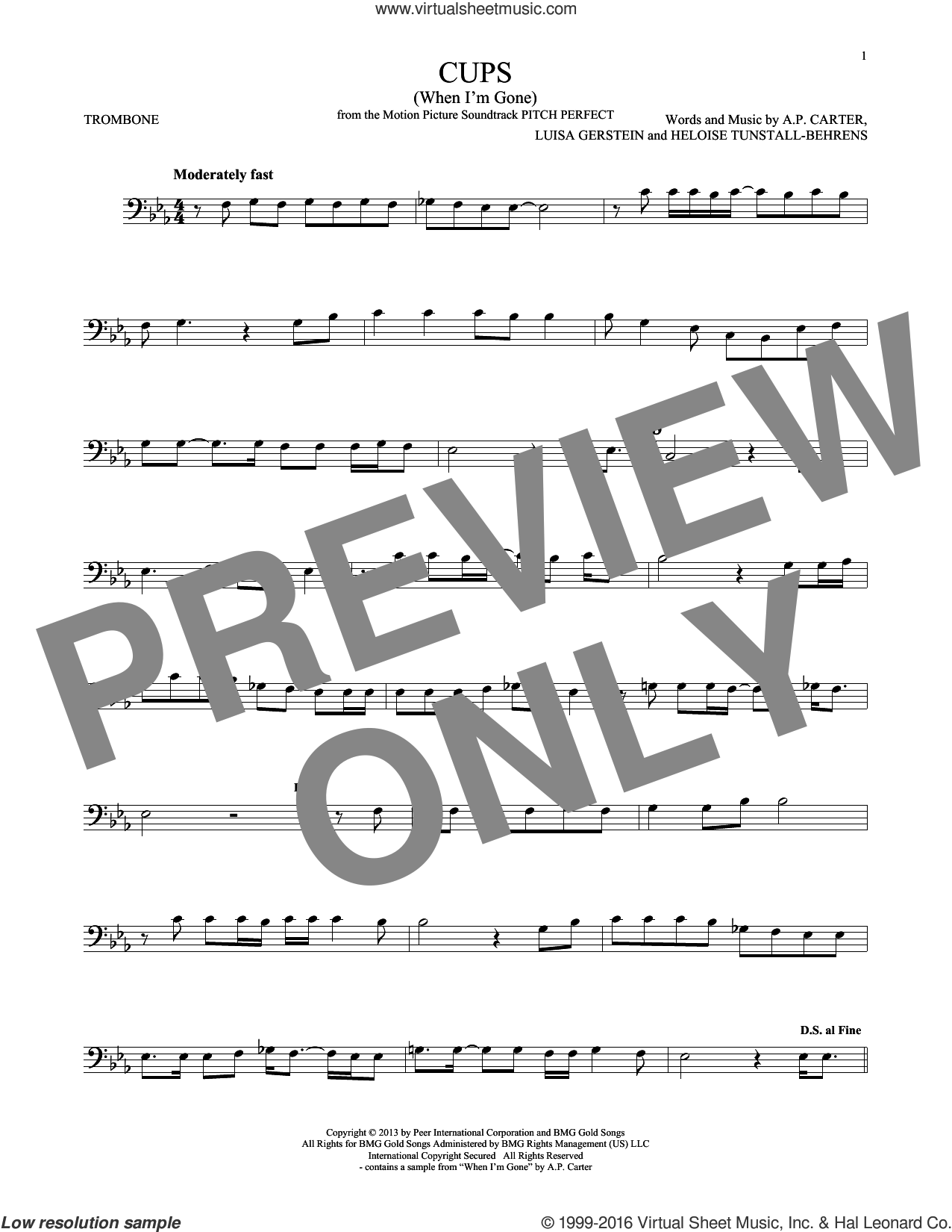 Cups (When I'm Gone) sheet music for trombone solo by Anna Kendrick, A.P. Carter, Heloise Tunstall-Behrens and Luisa Gerstein, intermediate skill level