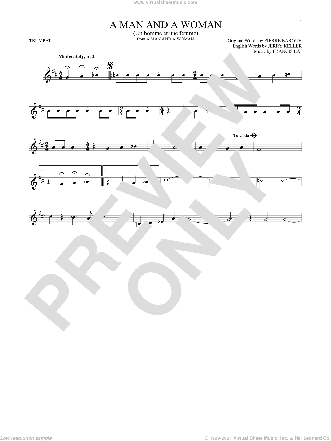 A Man And A Woman (Un Homme Et Une Femme) sheet music for trumpet solo by Pierre Barouh, Herbie Mann and Tamiko Jones, Francis Lai and Jerry Keller. Score Image Preview.