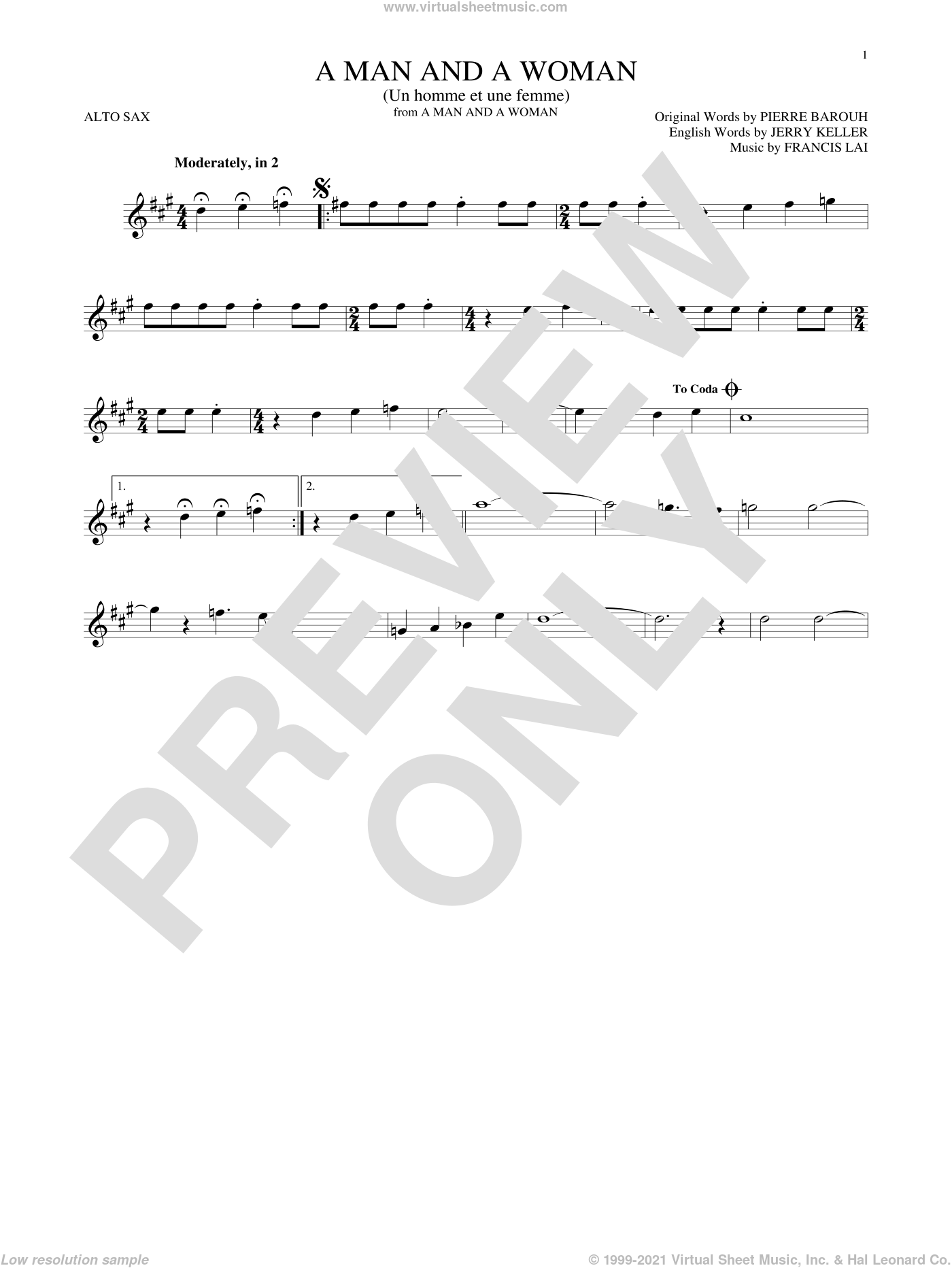 A Man And A Woman (Un Homme Et Une Femme) sheet music for alto saxophone solo by Herbie Mann and Tamiko Jones, Francis Lai, Jerry Keller and Pierre Barouh, intermediate skill level