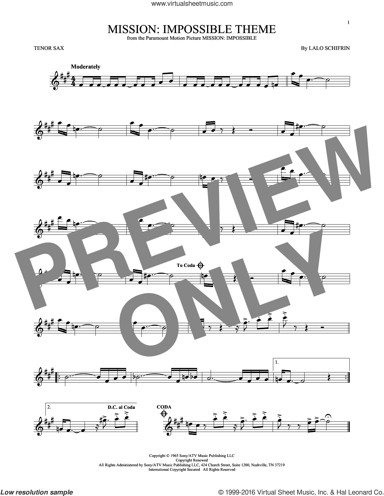 Mission: Impossible Theme sheet music for tenor saxophone solo by Lalo Schifrin, intermediate skill level