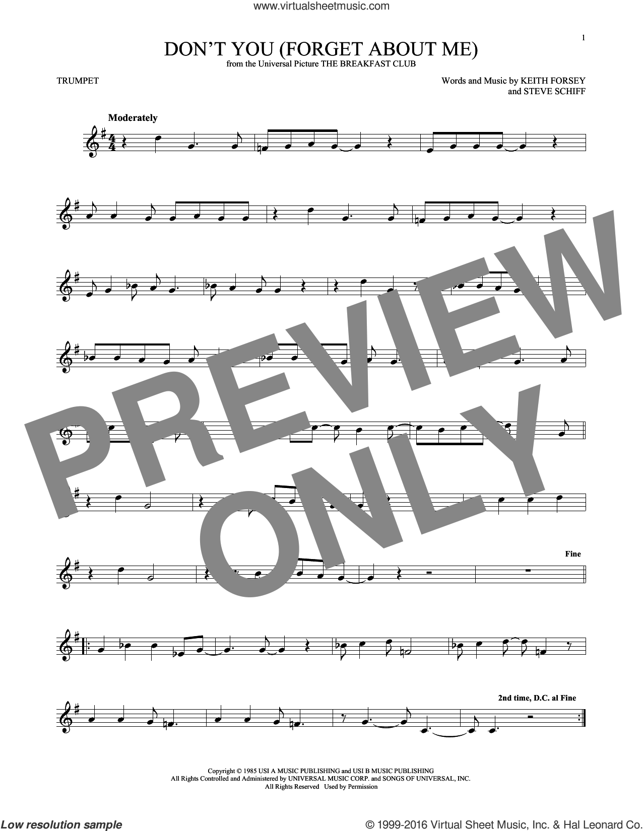 Don't You (Forget About Me) sheet music for trumpet solo by Simple Minds, Hawk Nelson, Keith Forsey and Steve Schiff, intermediate