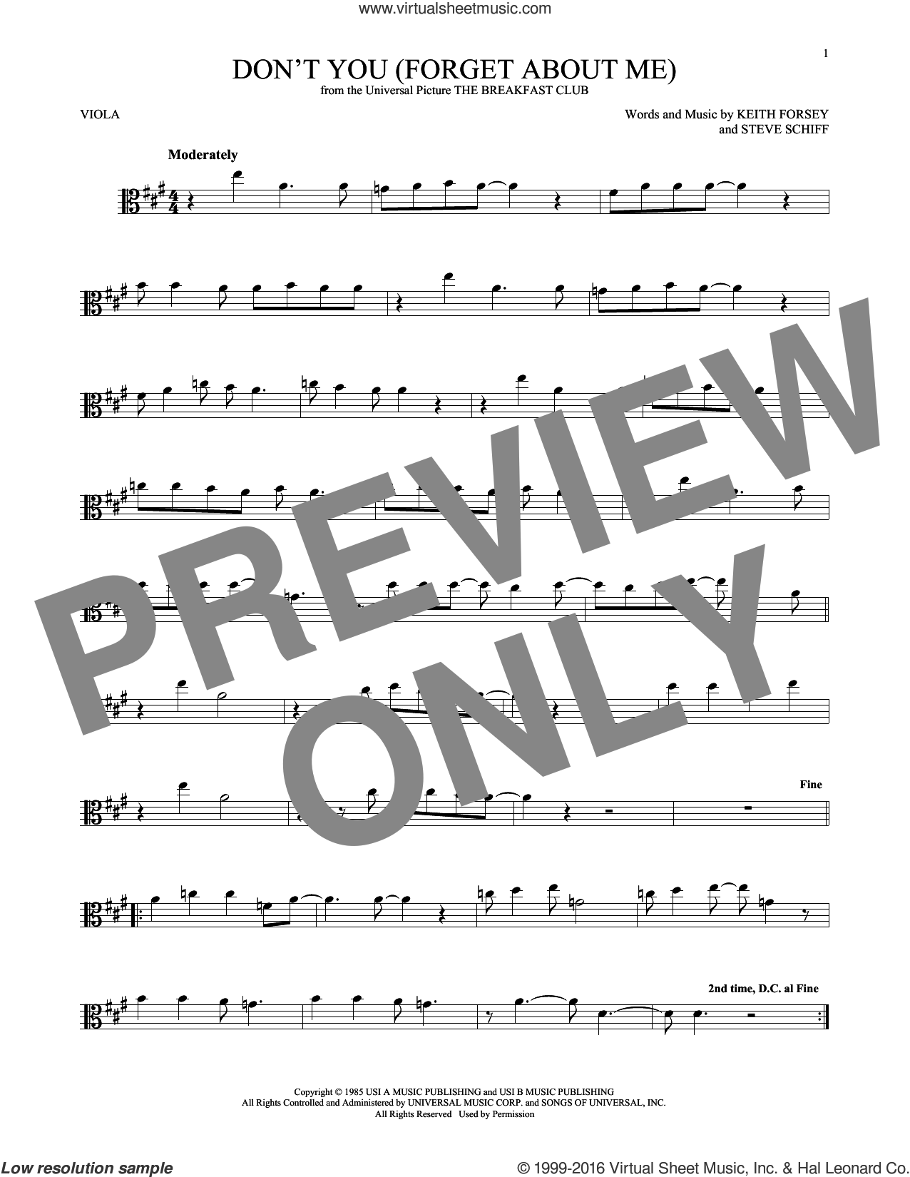 Don't You (Forget About Me) sheet music for viola solo by Steve Schiff, Hawk Nelson, Simple Minds and Keith Forsey. Score Image Preview.