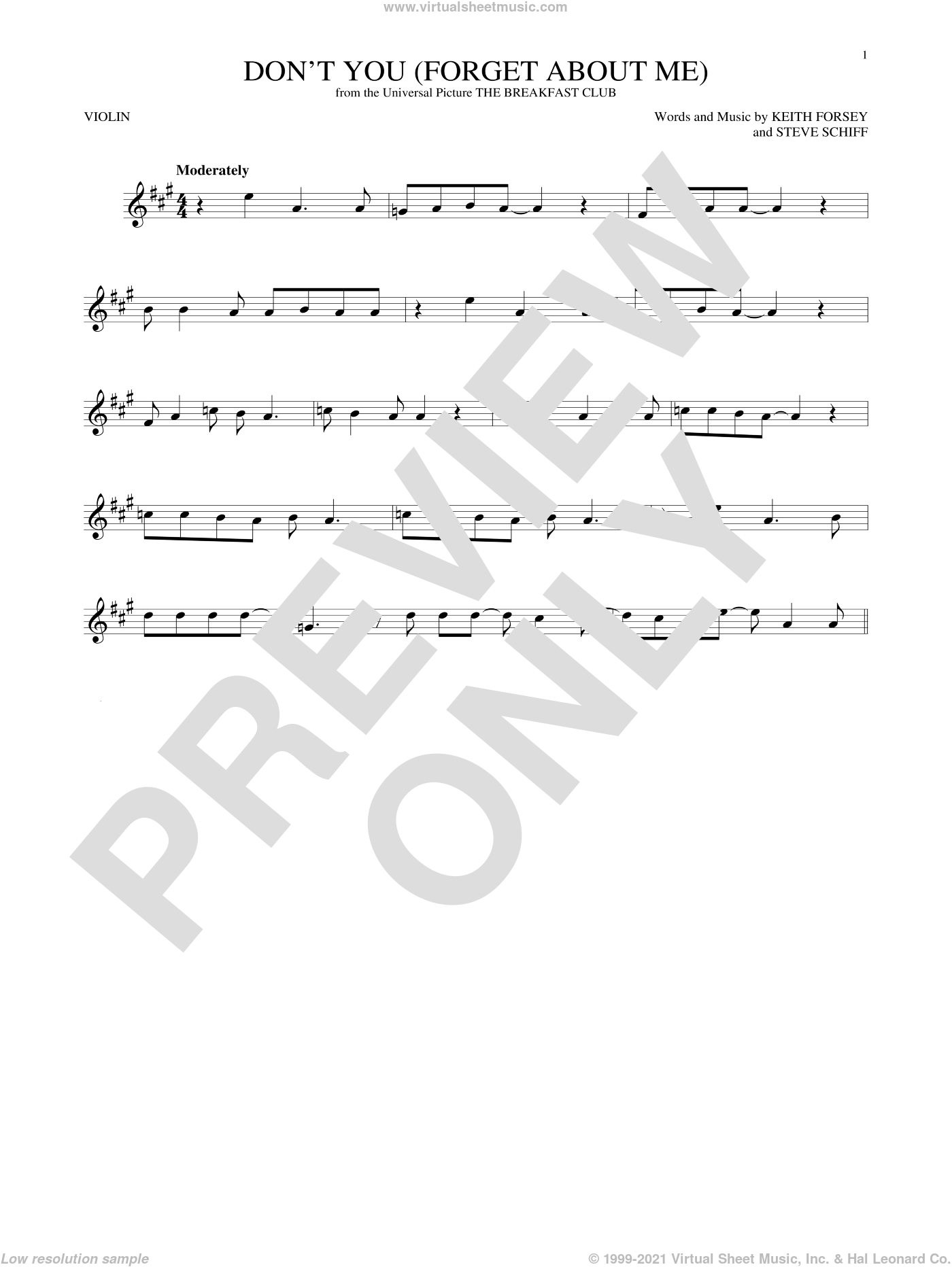Don't You (Forget About Me) sheet music for violin solo by Simple Minds, Hawk Nelson, Keith Forsey and Steve Schiff, intermediate. Score Image Preview.