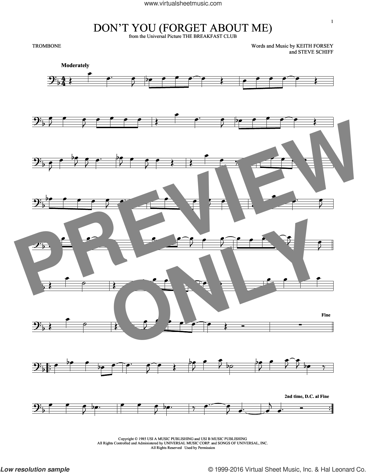 Don't You (Forget About Me) sheet music for trombone solo by Simple Minds, Hawk Nelson, Keith Forsey and Steve Schiff, intermediate skill level