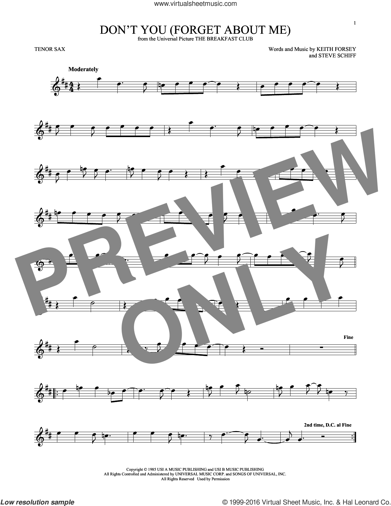 Don't You (Forget About Me) sheet music for tenor saxophone solo by Simple Minds, Hawk Nelson, Keith Forsey and Steve Schiff, intermediate skill level