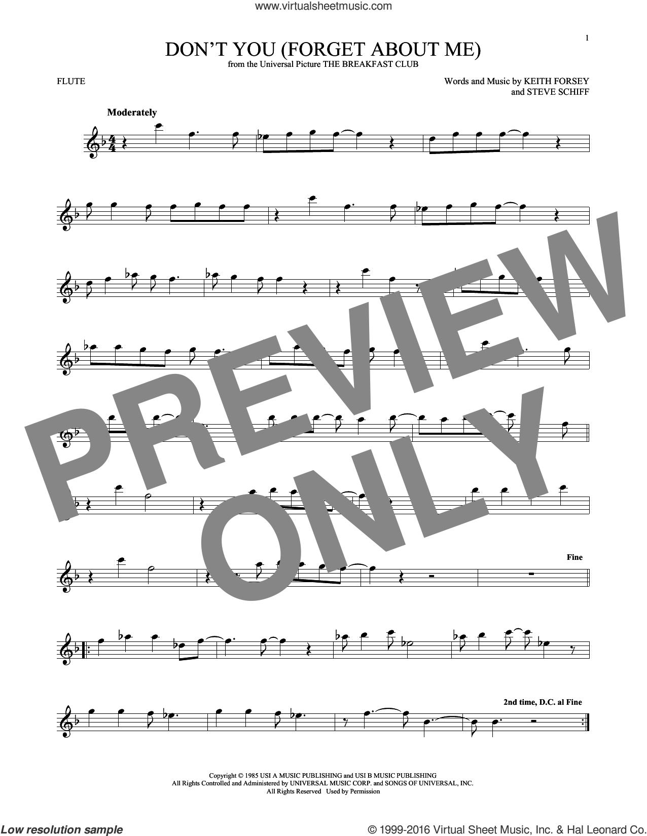 Don't You (Forget About Me) sheet music for flute solo by Simple Minds, Hawk Nelson and Keith Forsey. Score Image Preview.