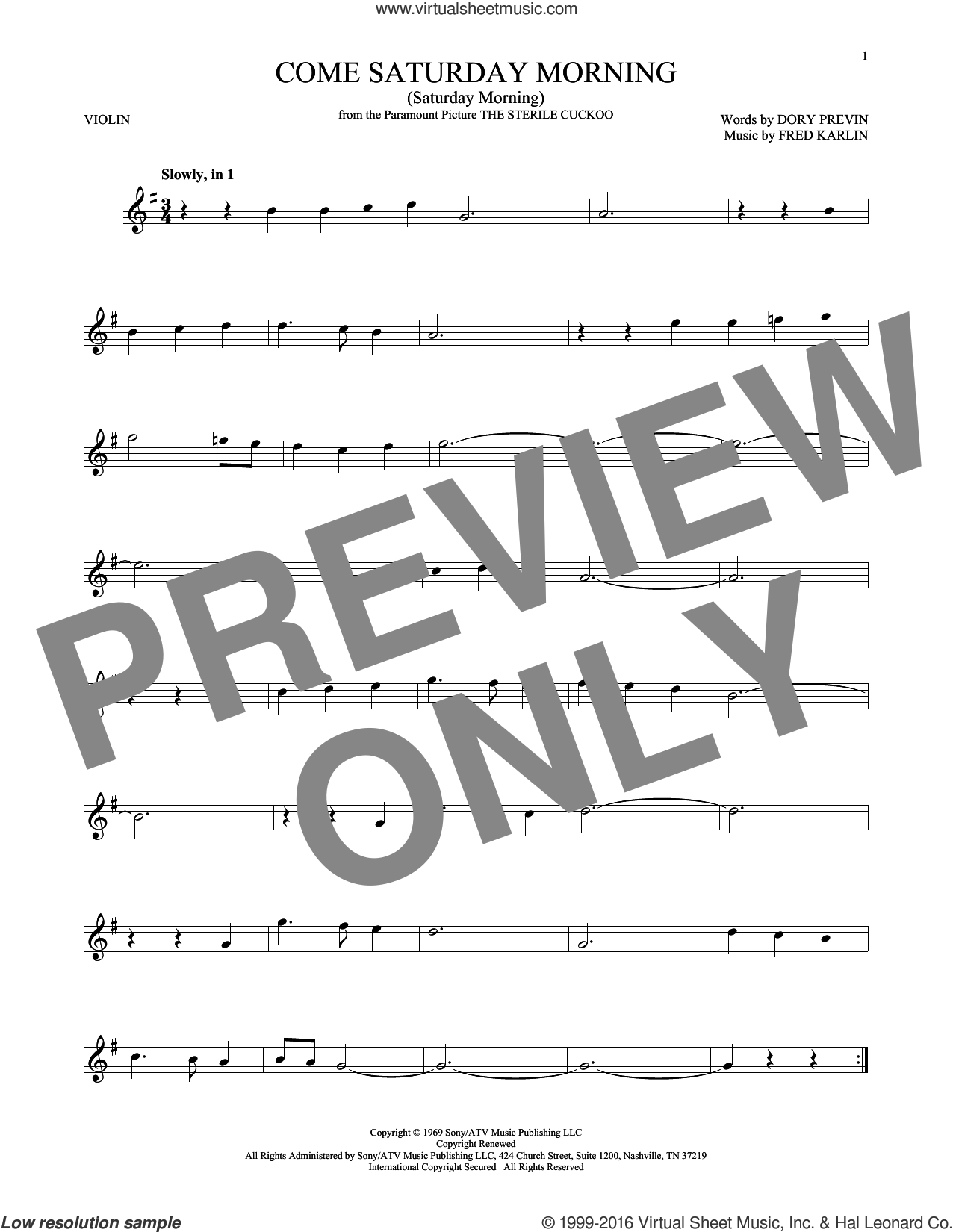 Come Saturday Morning (Saturday Morning) sheet music for violin solo by Dory Previn and Fred Karlin, intermediate. Score Image Preview.