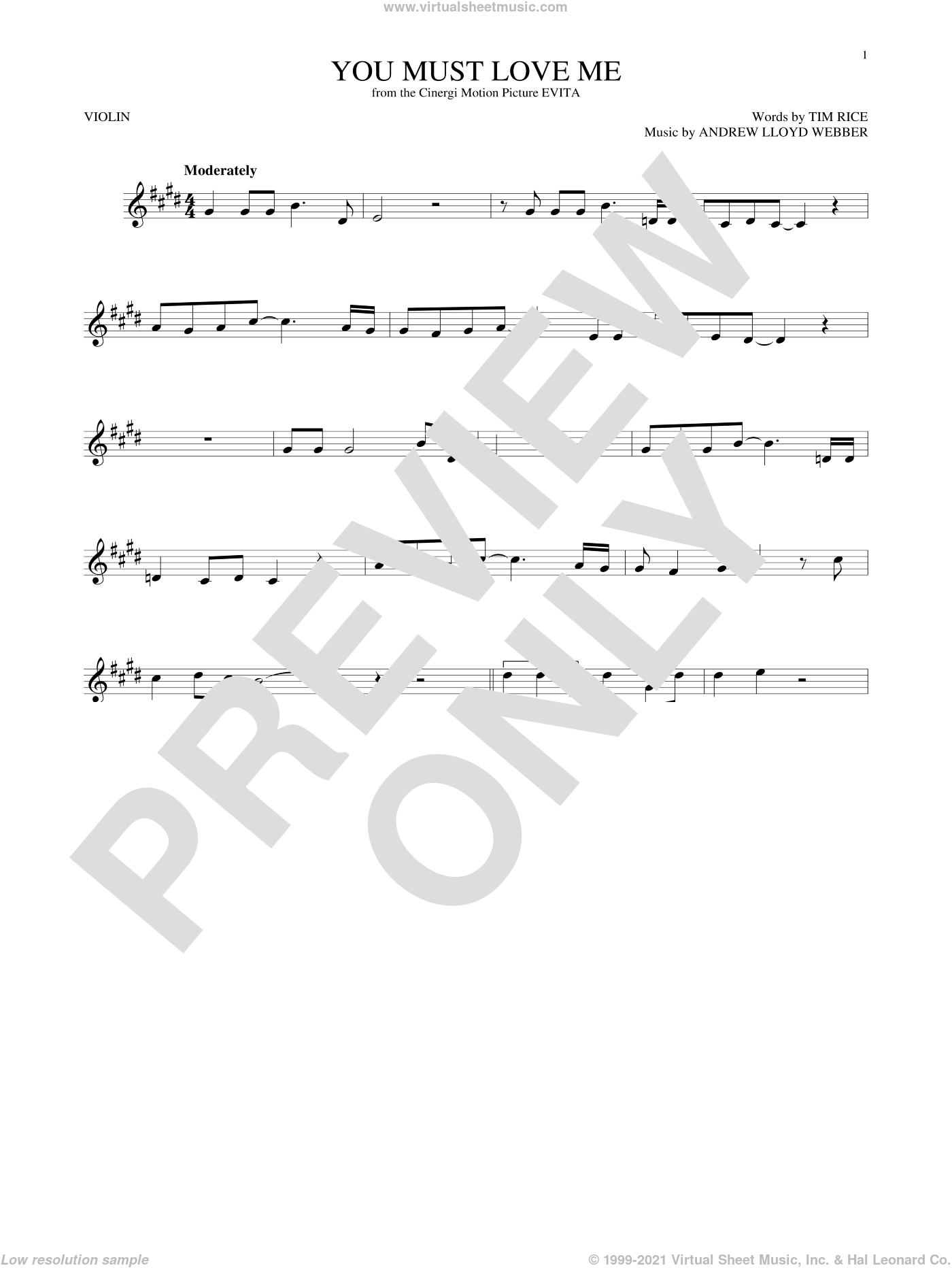 You Must Love Me sheet music for violin solo by Andrew Lloyd Webber, Madonna and Tim Rice, intermediate skill level