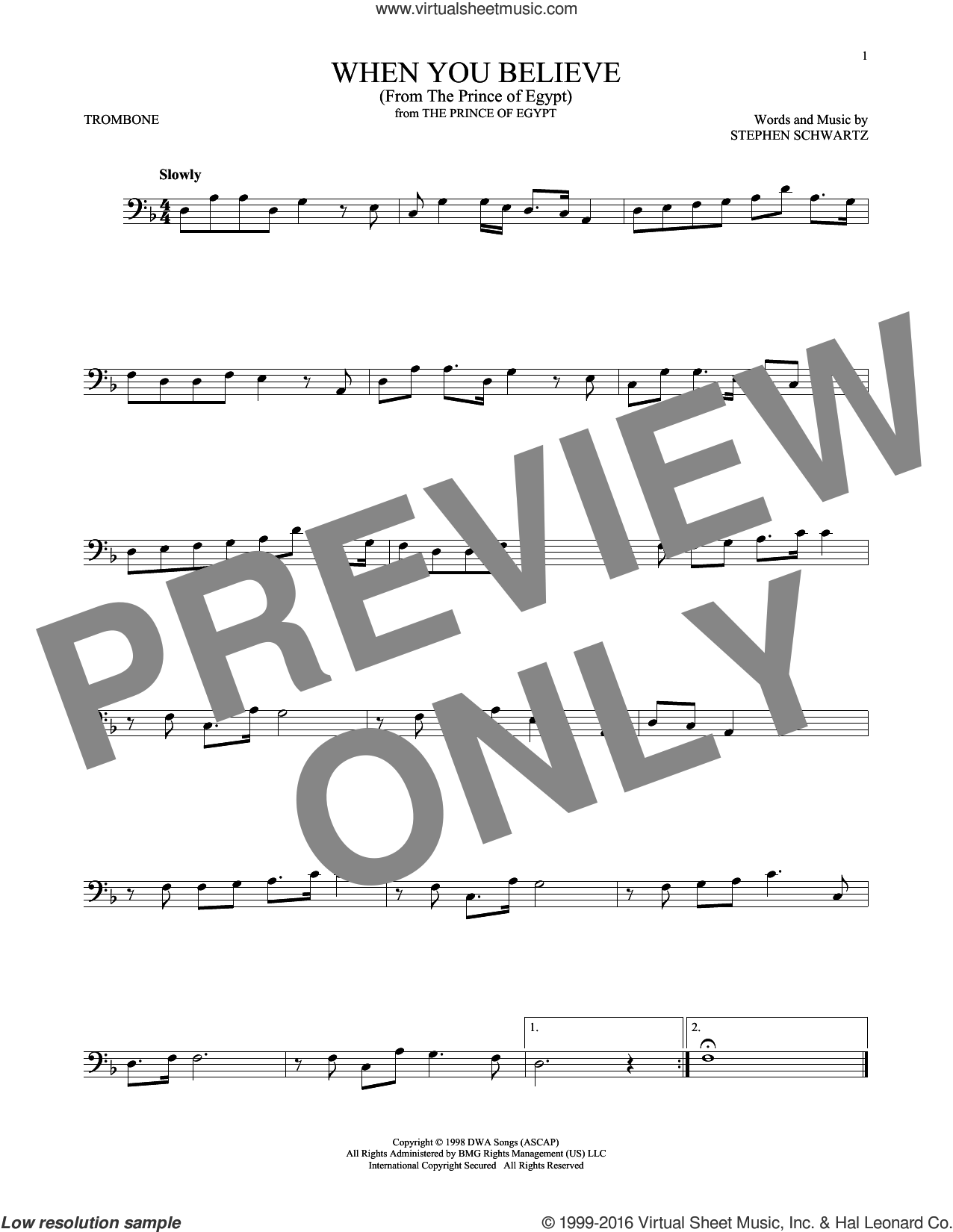 When You Believe (from The Prince Of Egypt) sheet music for trombone solo by Whitney Houston and Mariah Carey and Stephen Schwartz, intermediate skill level