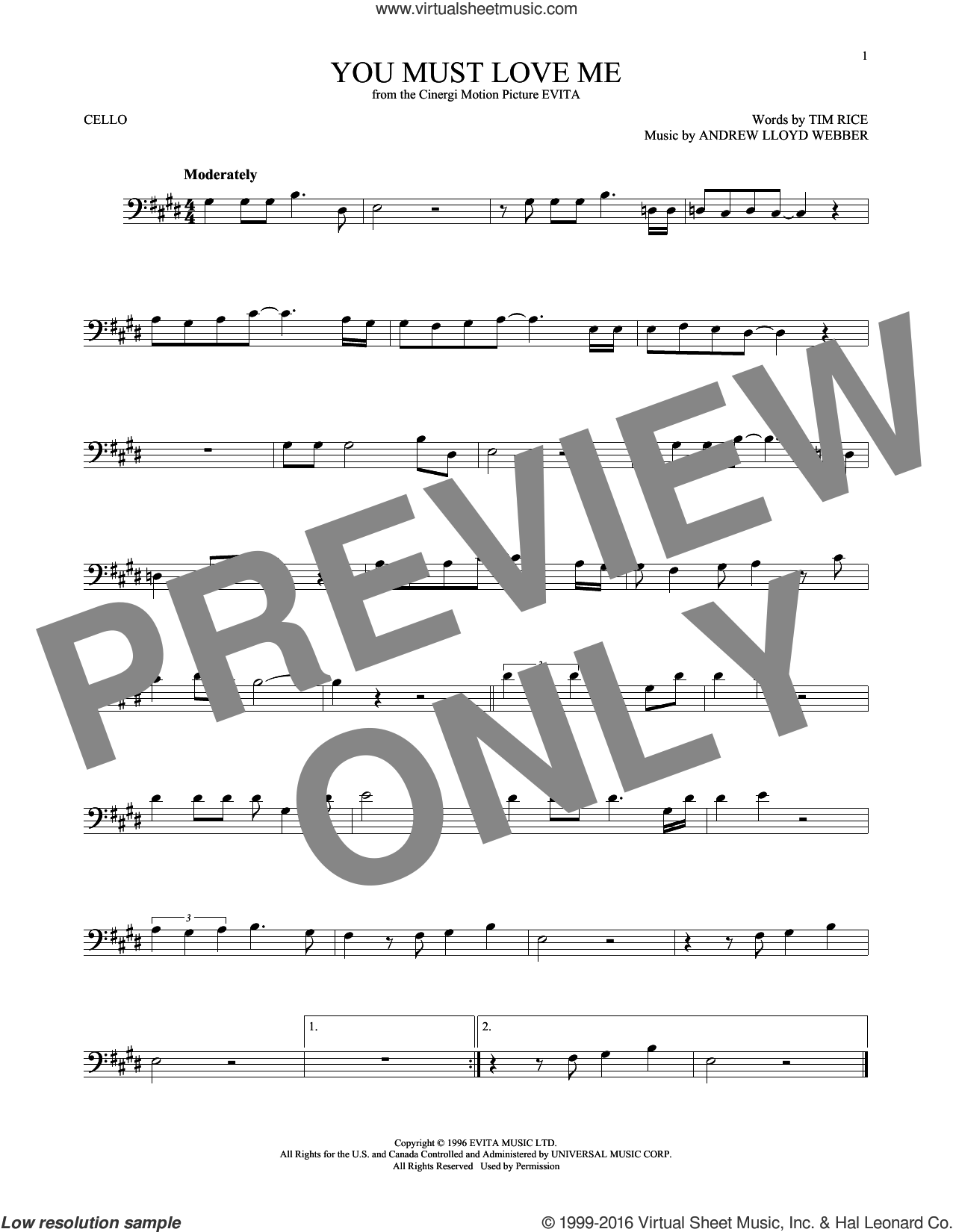 You Must Love Me sheet music for cello solo by Andrew Lloyd Webber, Madonna and Tim Rice, intermediate