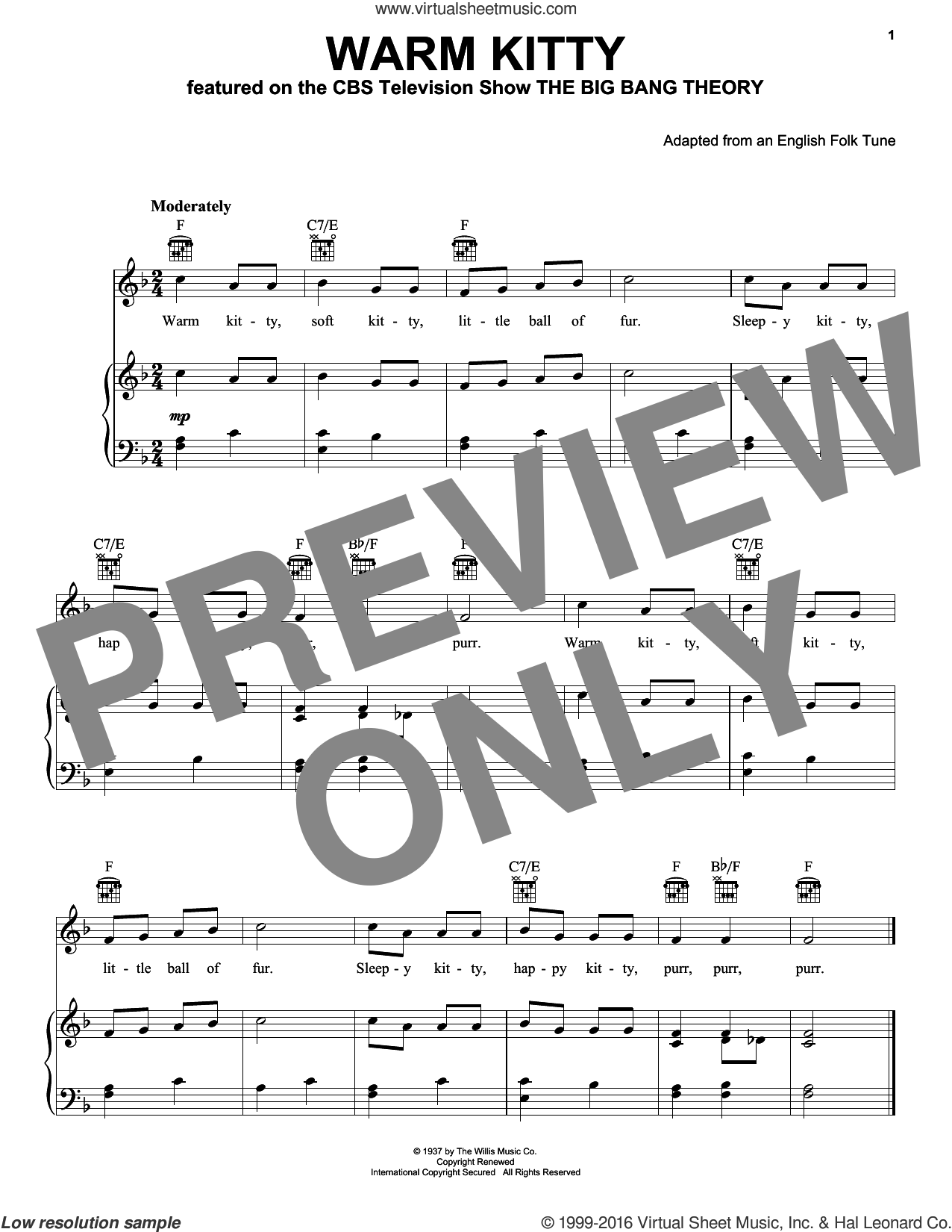 Warm Kitty sheet music for voice, piano or guitar by English Folk Tune (adapted), intermediate voice, piano or guitar. Score Image Preview.