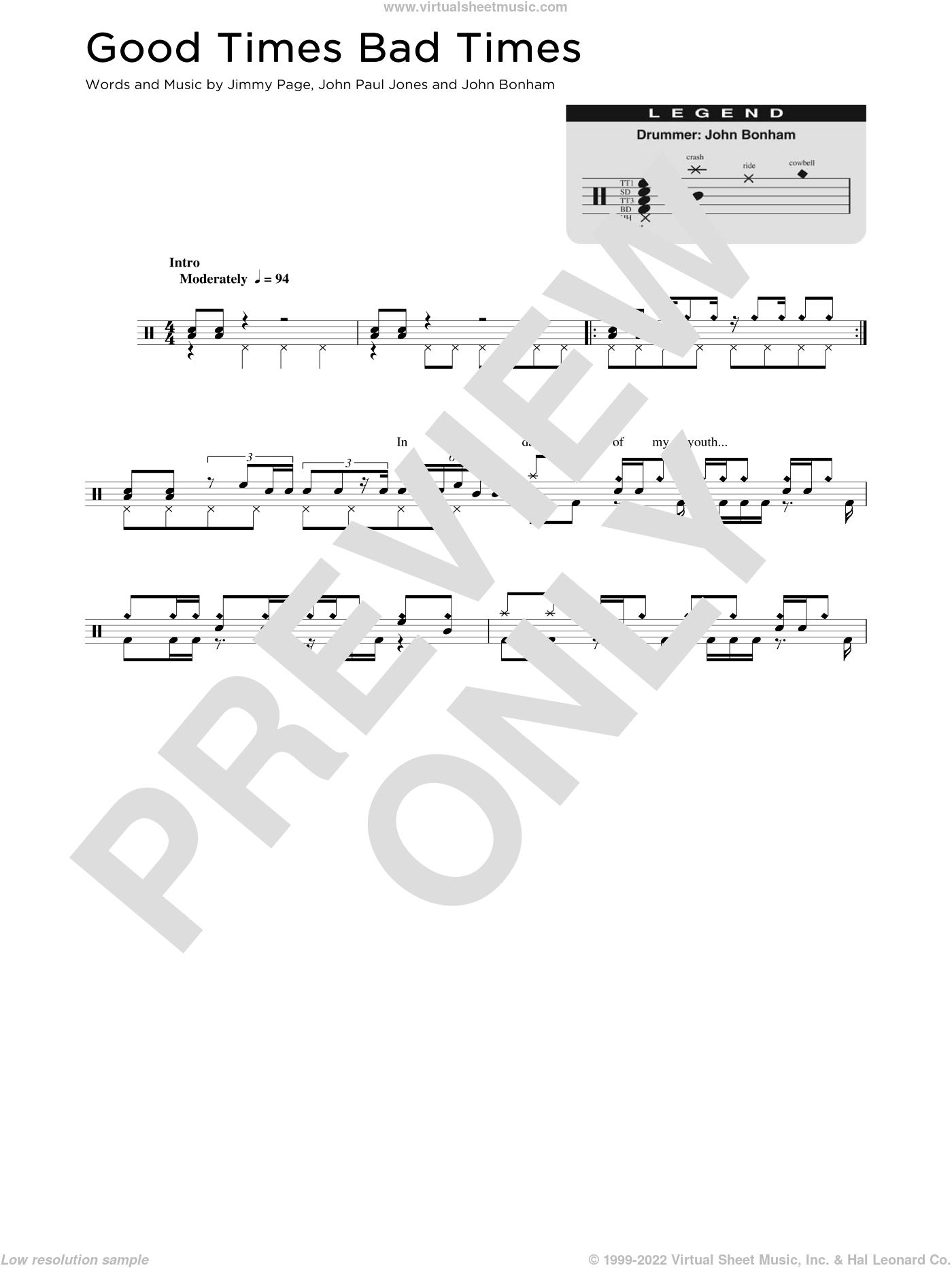 Good Times Bad Times sheet music for drums (percussions) by Led Zeppelin, Jimmy Page, John Bonham and John Paul Jones, intermediate skill level