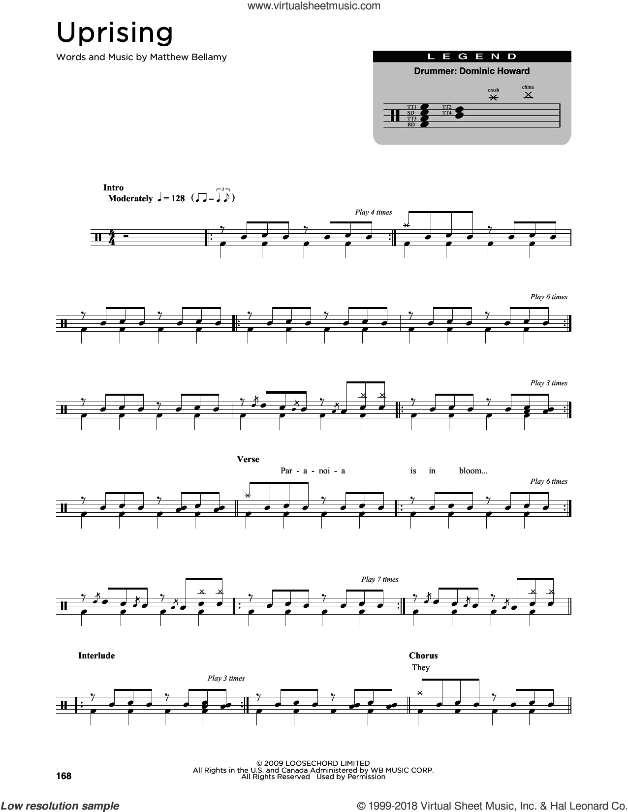 Uprising sheet music for drums (percussions) by Muse and Matthew Bellamy, intermediate skill level