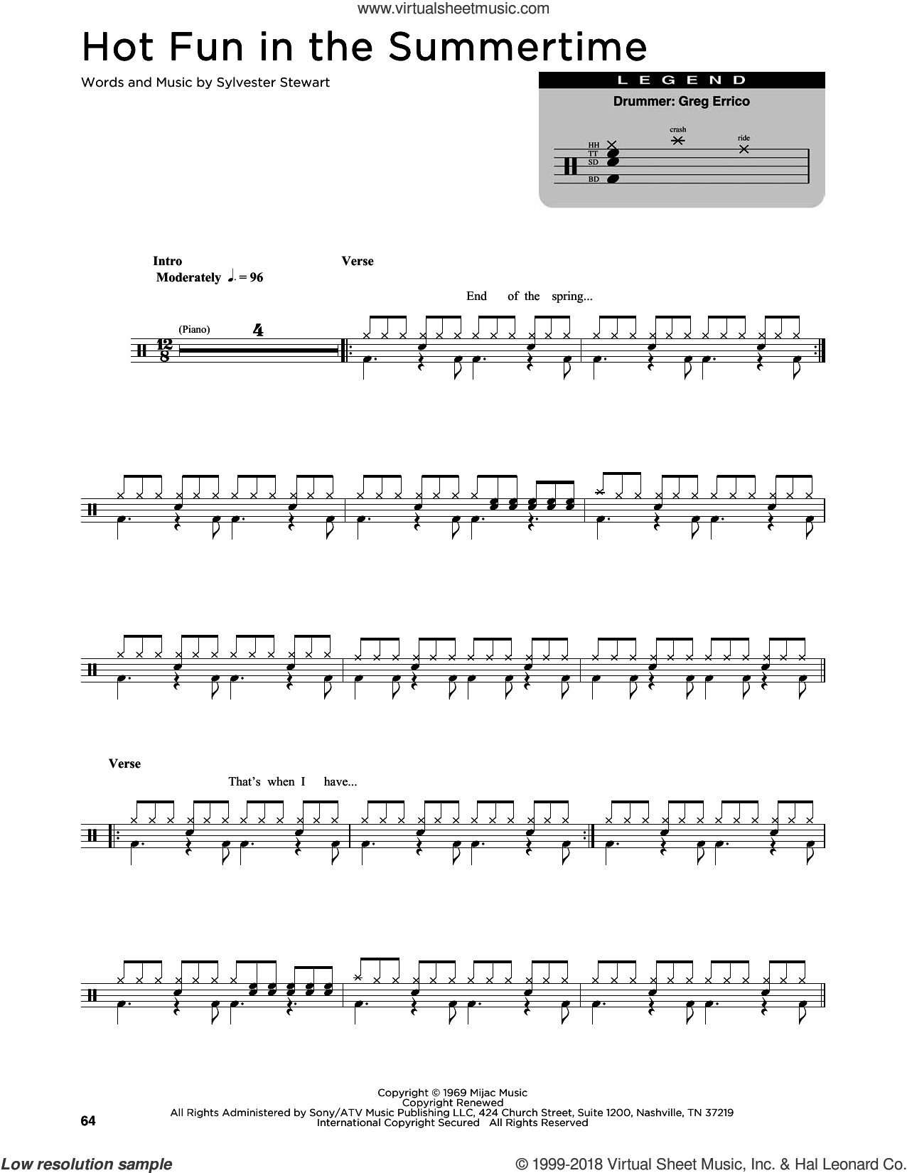 Hot Fun In The Summertime sheet music for drums (percussions) by Sly & The Family Stone, intermediate. Score Image Preview.