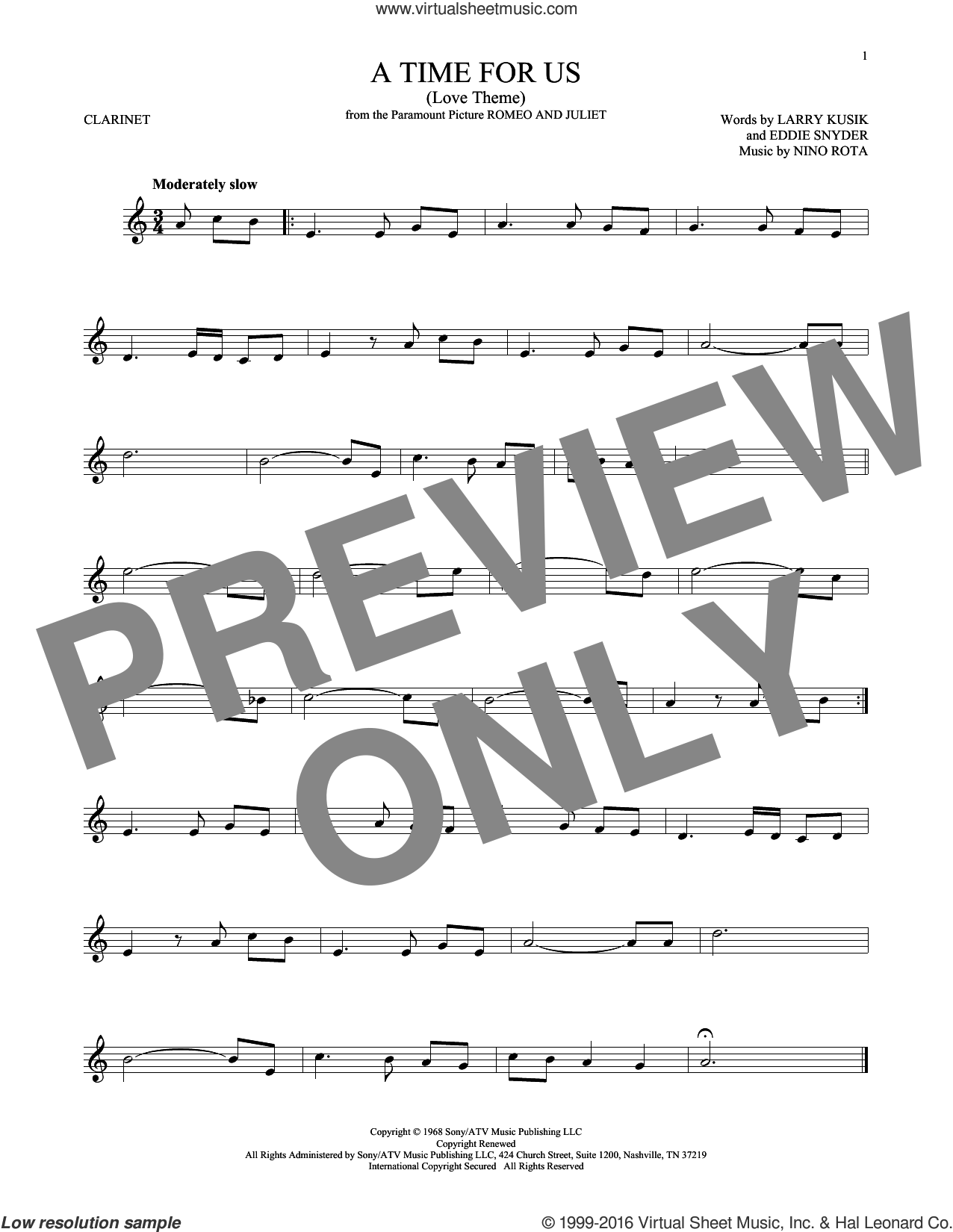 A Time For Us (Love Theme) sheet music for clarinet solo by Nino Rota, Eddie Snyder and Larry Kusik, intermediate skill level