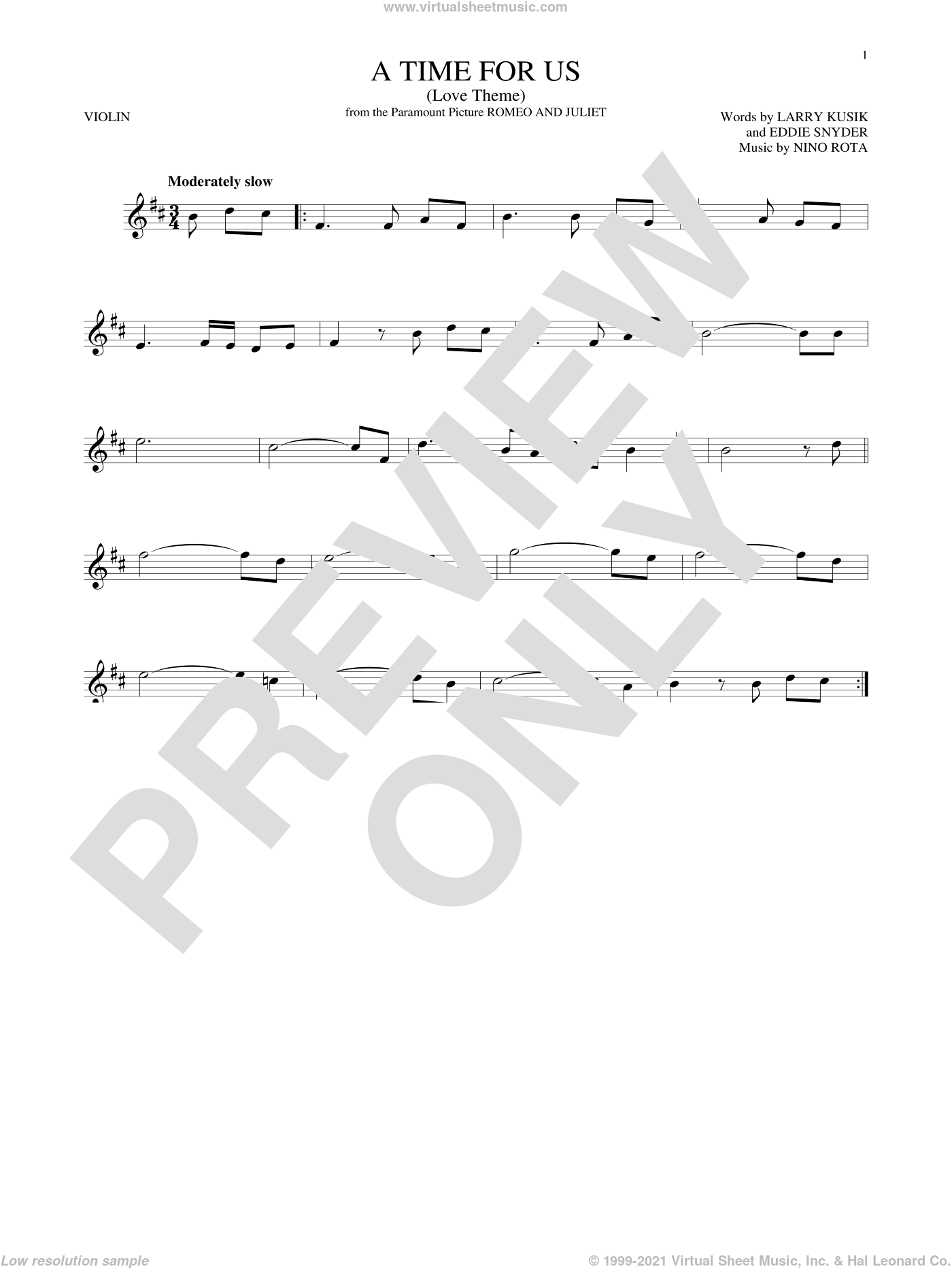 A Time For Us (Love Theme) sheet music for violin solo by Nino Rota, Eddie Snyder and Larry Kusik, intermediate skill level