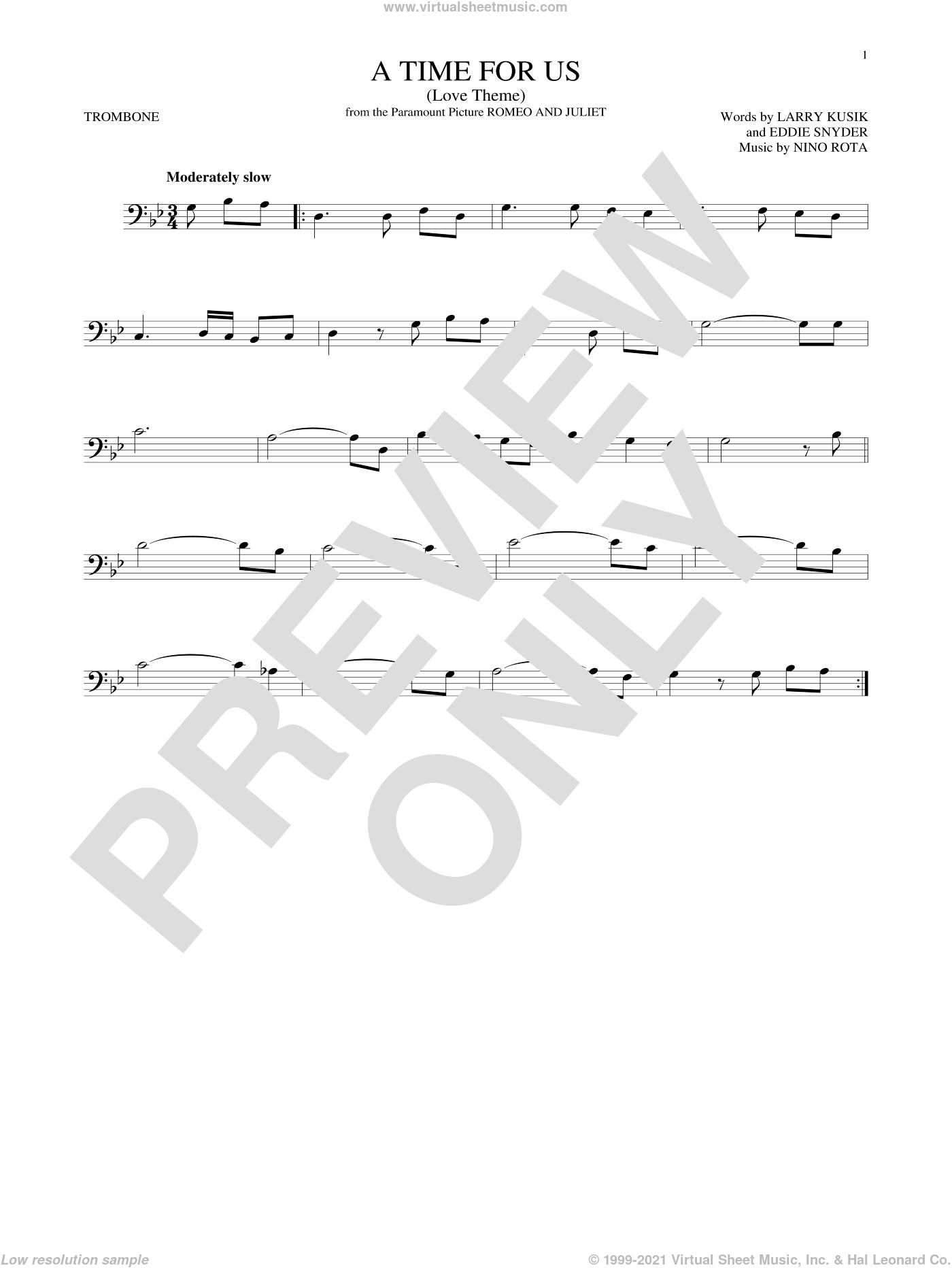 A Time For Us (Love Theme) sheet music for trombone solo by Nino Rota, Eddie Snyder and Larry Kusik, intermediate skill level